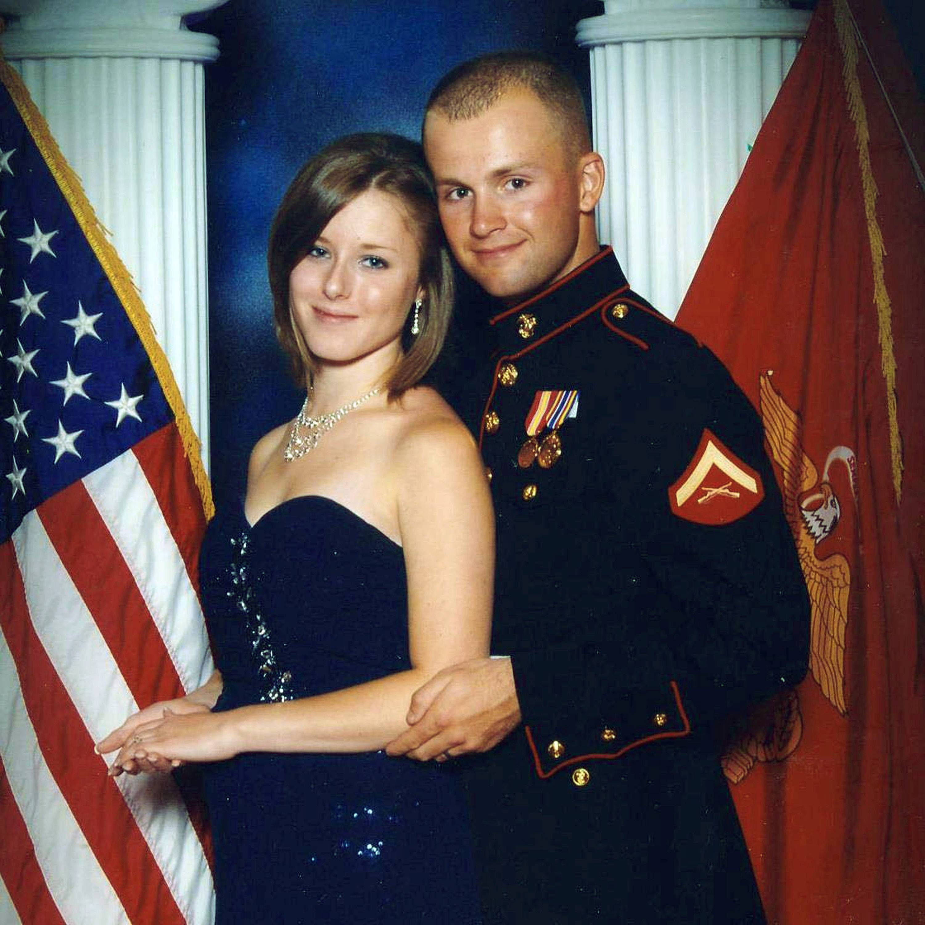 Erin Corwin, left, with her husband, Jonathan Wayne Corwin, a corporal in the U.S. Marine Corps. Erin Corwin disappeared after leaving her home on the Twentynine Palms Marine Corps base June 28, 2014.