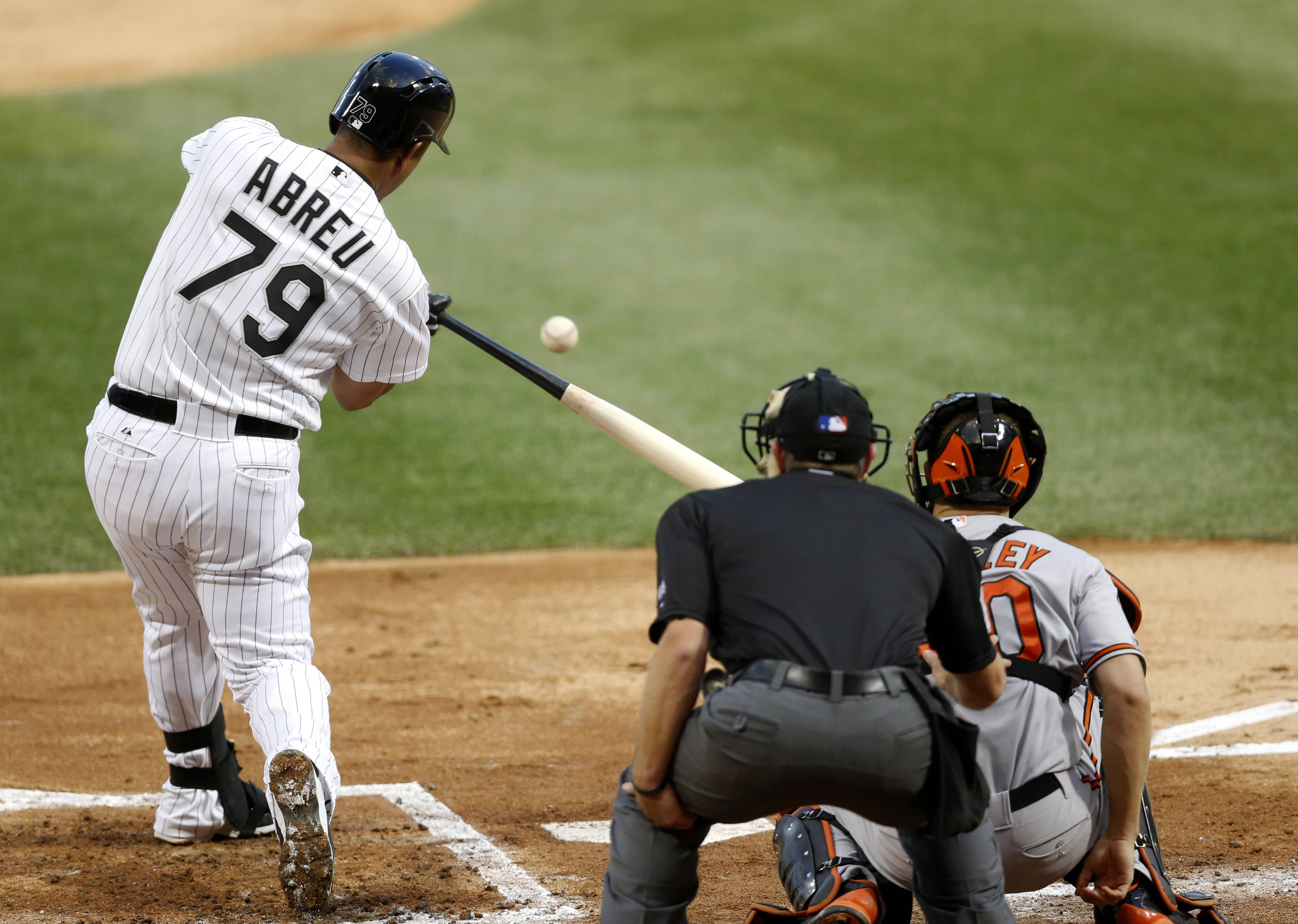 The White Sox's Jose Abreu hits a home run off Baltimore Orioles starting pitcher Chris Tillman during Tuesday's game at U.S. Cellular Field.