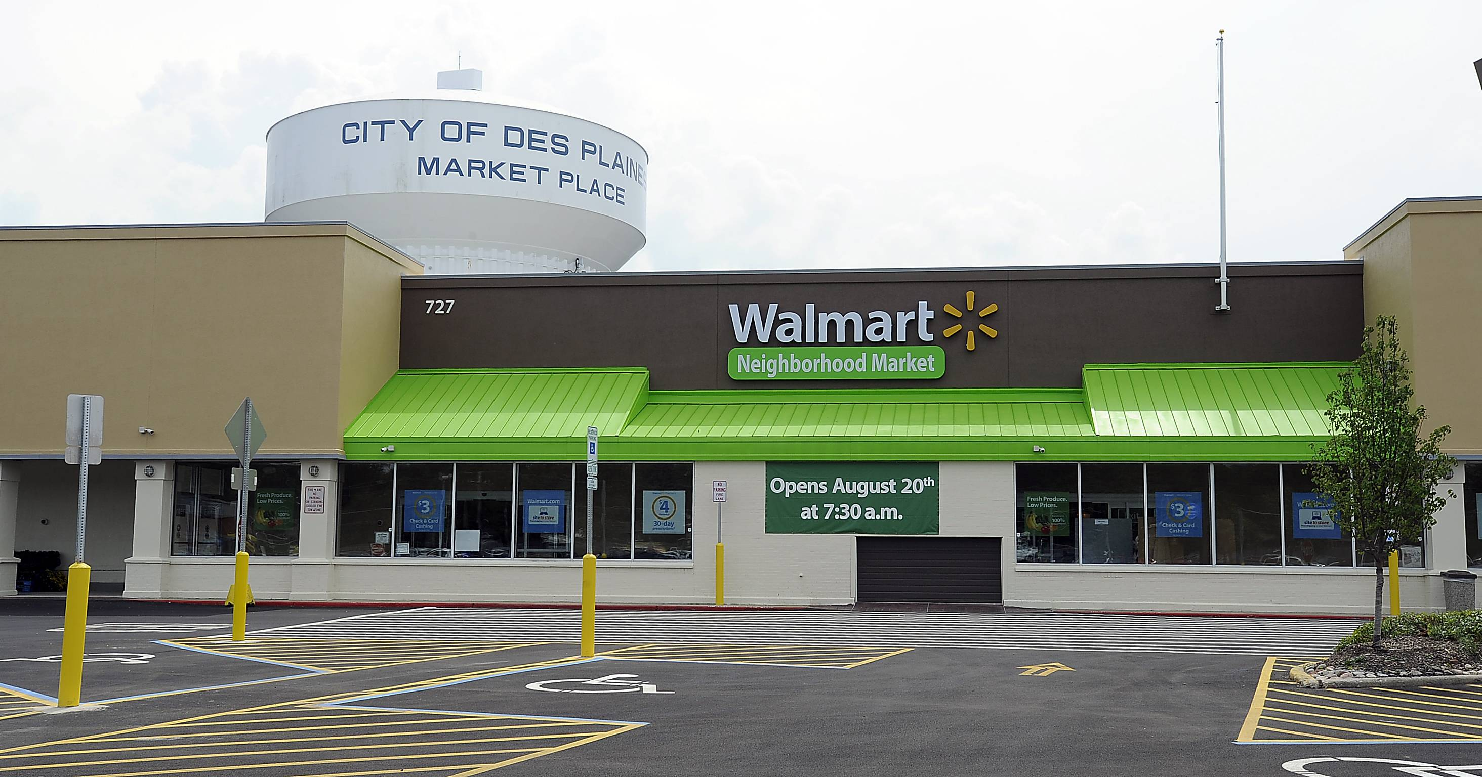 The suburbs' first Walmart Neighborhood Market opens at 7:30 a.m. today at 727 W. Golf Road in Des Plaines.