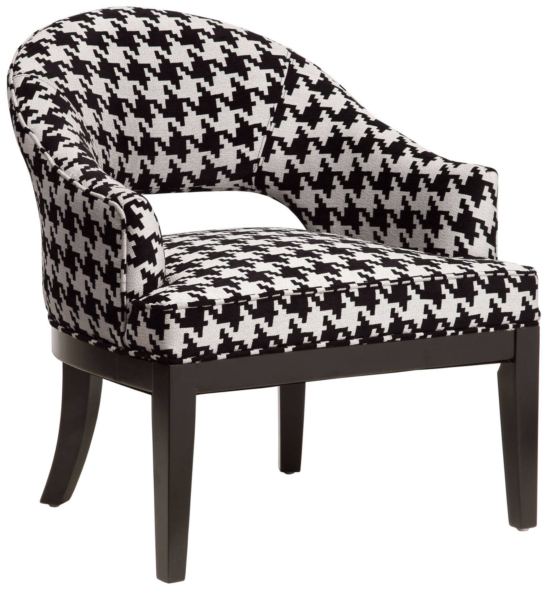 This oversized houndstooth print gives the Crystal Keltic Oreo chair, found at lampsplus.com, a contemporary edge.