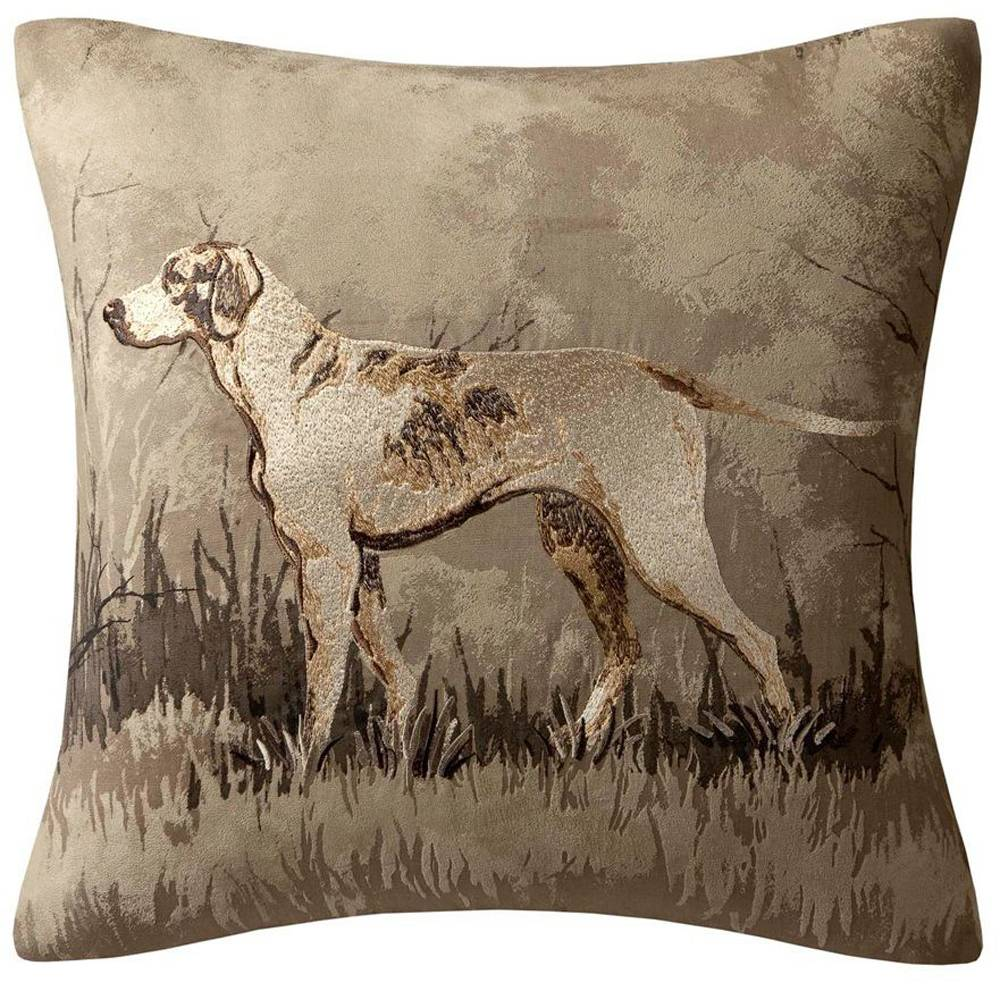 Woolrich's Hadley collection of throw pillows, found at lampsplus.com, features painterly prints of pheasants, stags and dogs on Berber fabric.