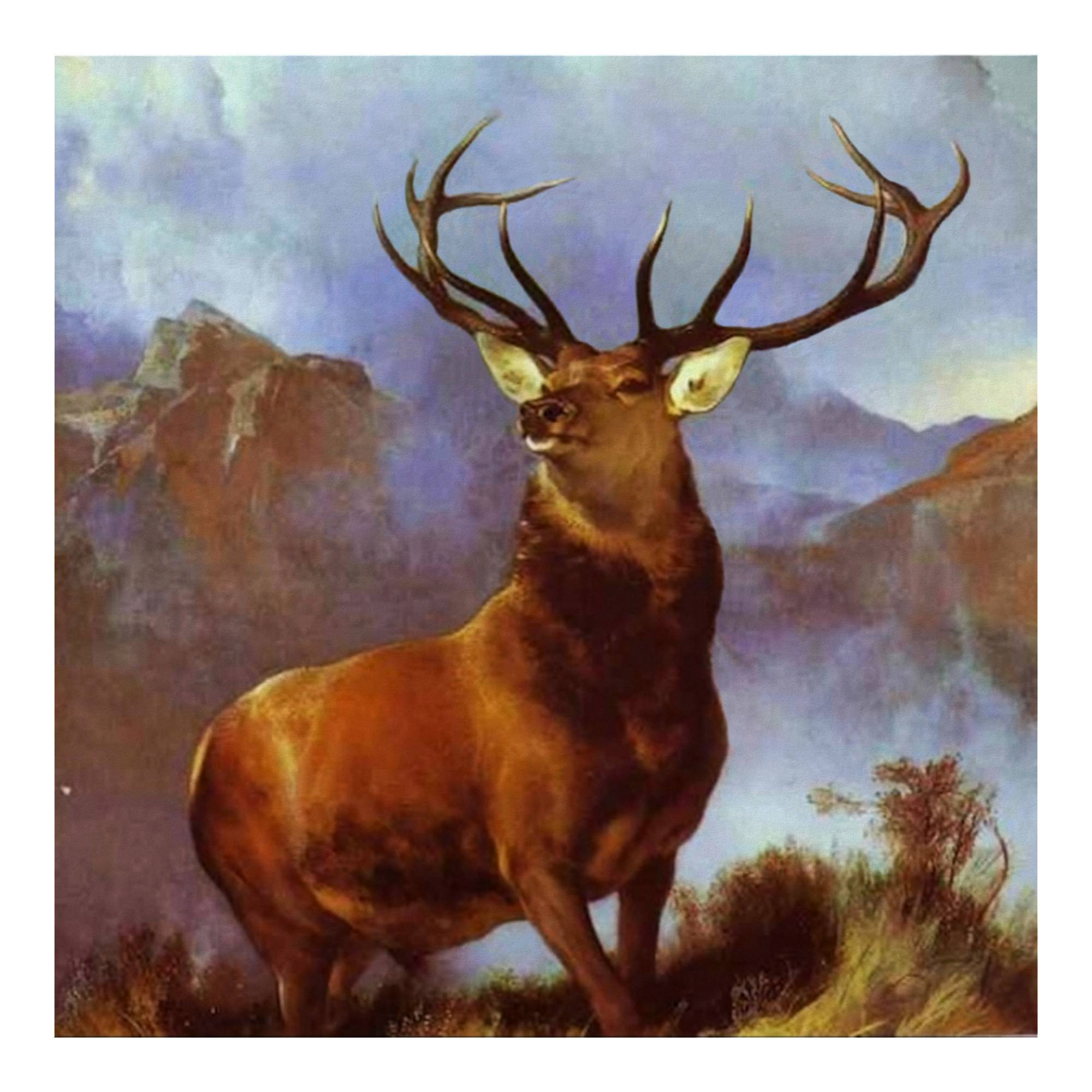 "Sir Edward Landseer's iconic ""Monarch of the Glen"" print features a magnificent stag."