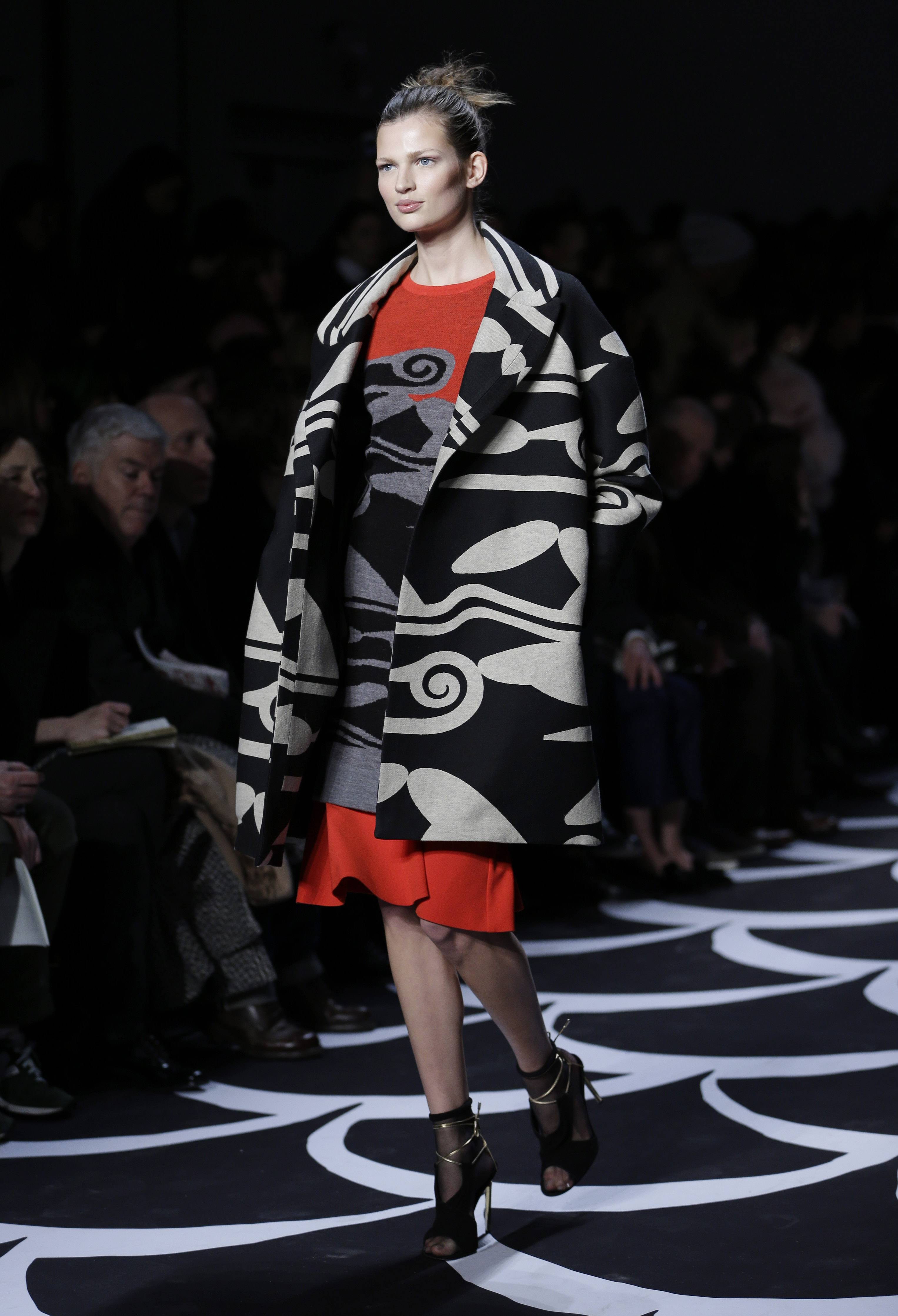 Black-and-white prints, like this coat from Diane von Furstenberg, are predicted to be popular this fall.