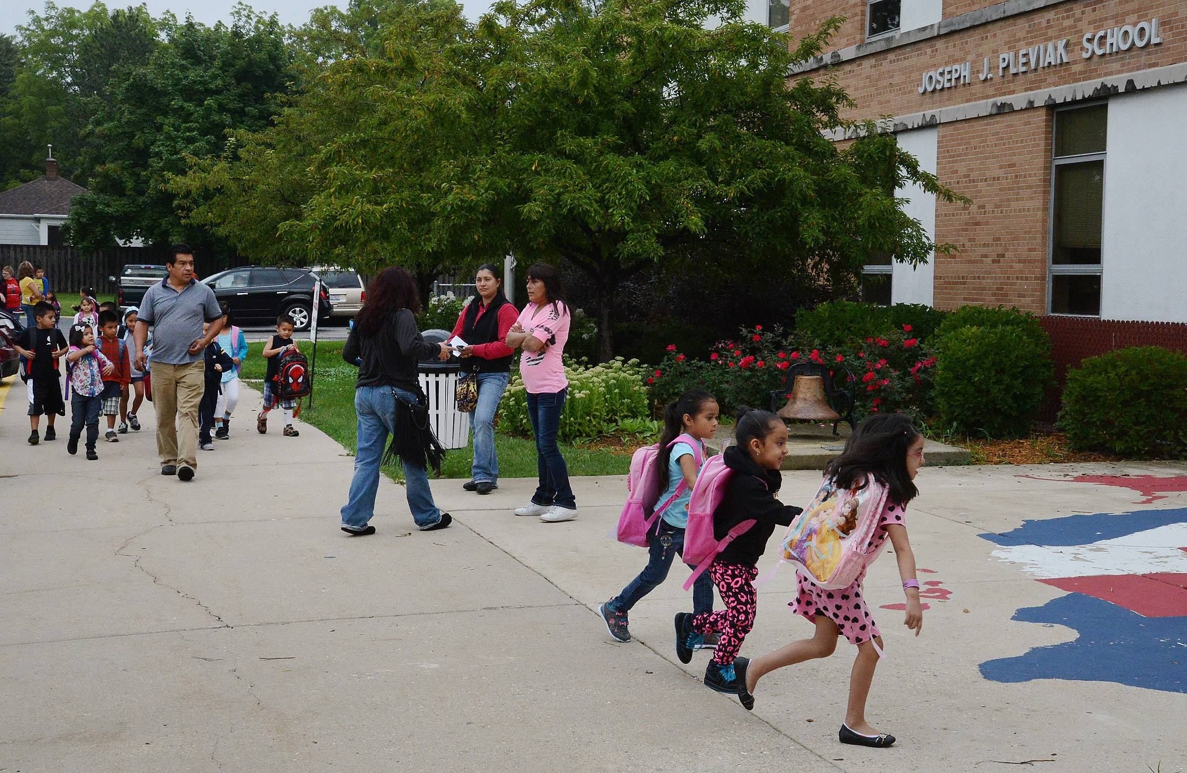 Unwanted by Lake Villa Elementary District 41, Pleviak Elementary School didn't miss a beat Tuesday. It opened for the first day of classes for Round Lake Area Unit District 116's kindergarten program.