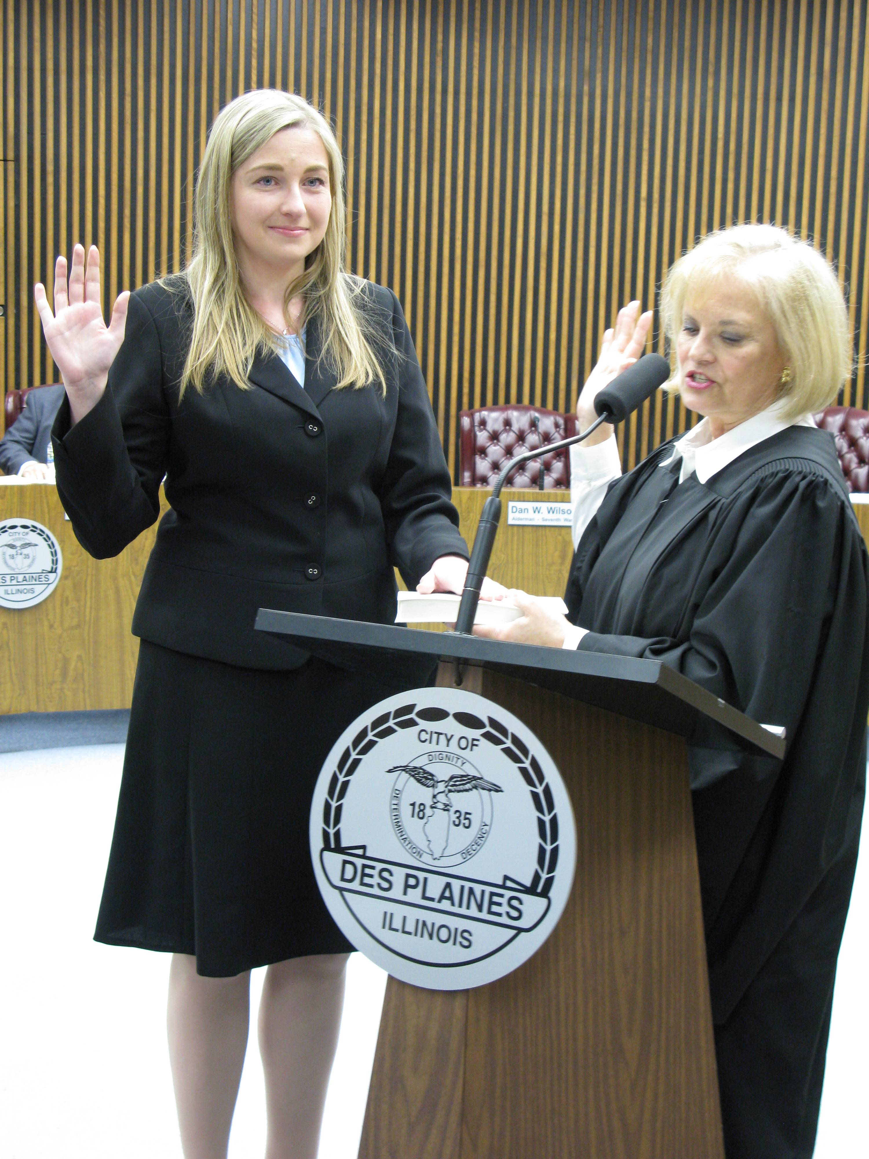 Joanna Sojka was sworn in as Des Plaines' 7th Ward alderman in May 2013 by Appellate Court Judge Aurelia Pucinski.