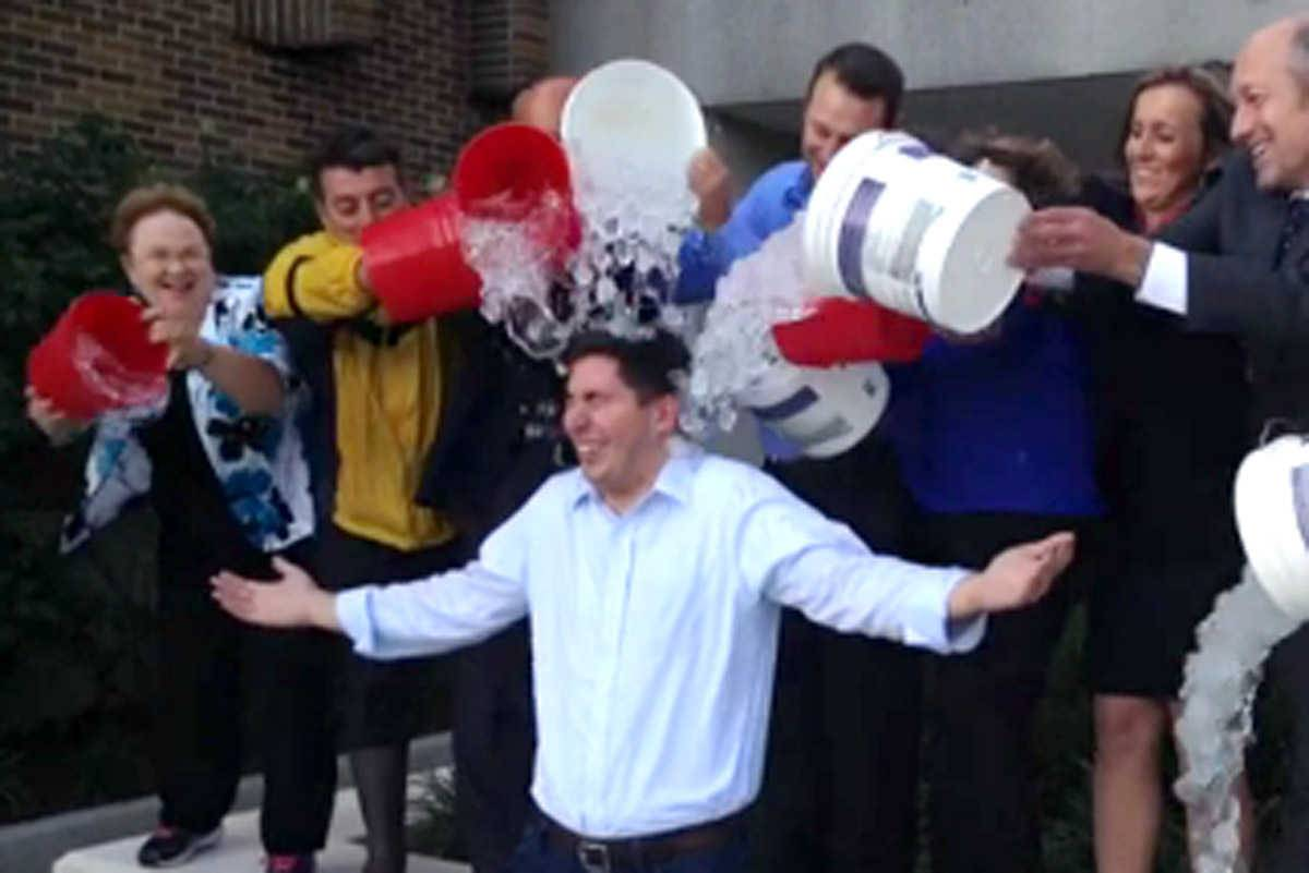 Members of the staff of the city of Des Plaines poured ice water on Mayor Matthew Bogusz to raise awareness for ALS on Monday night, after Bogusz challenged mayors of nearby towns and a couple of state lawmakers to do the same.