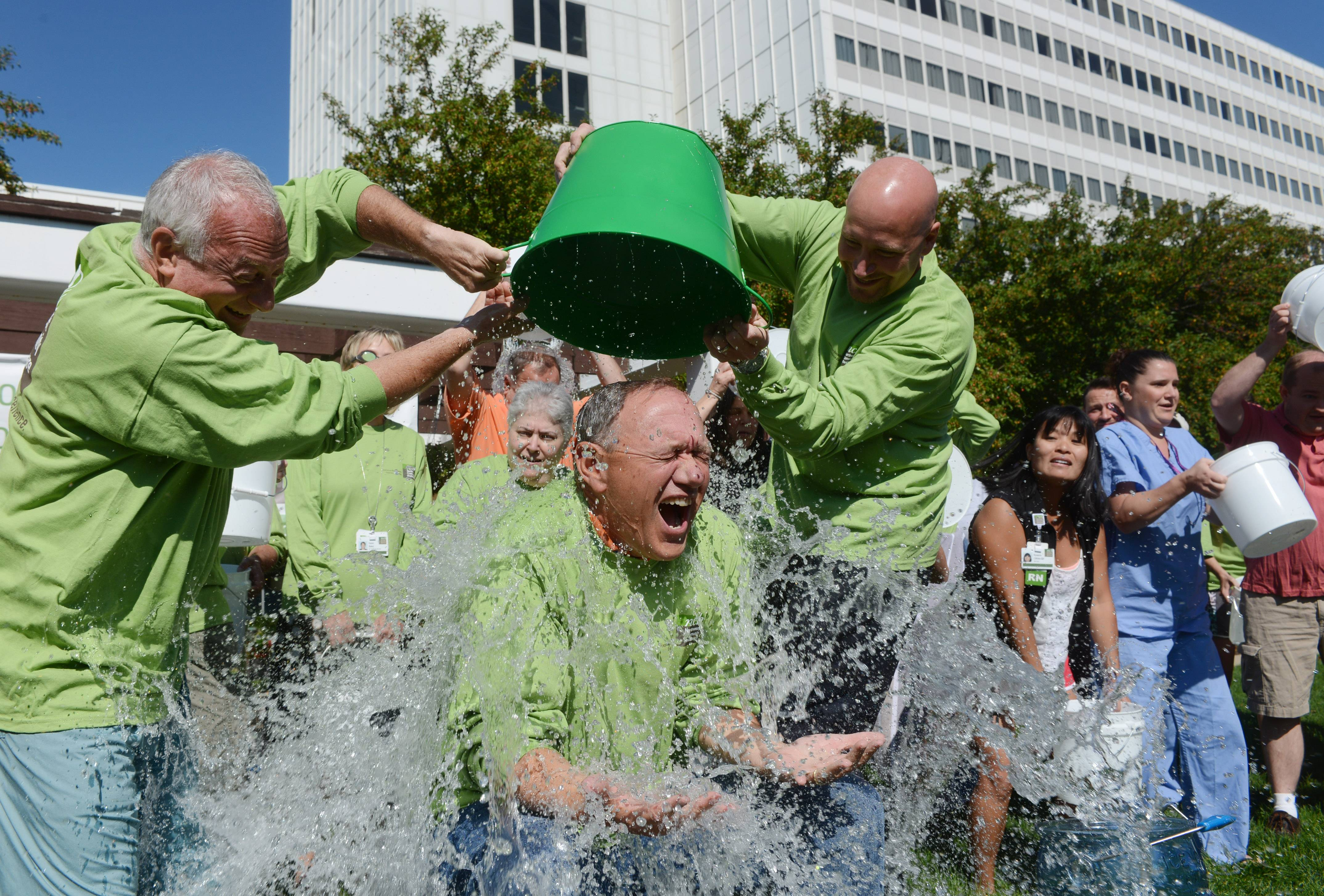 Northwest Community Hospital CEO Stephen Scogna kept the challenge going by daring firefighters from Palatine and Rolling Meadows to take the Ice Bucket Challenge. Thanks largely to social media, the challenge has helped raise millions of dollars for ALS charities.