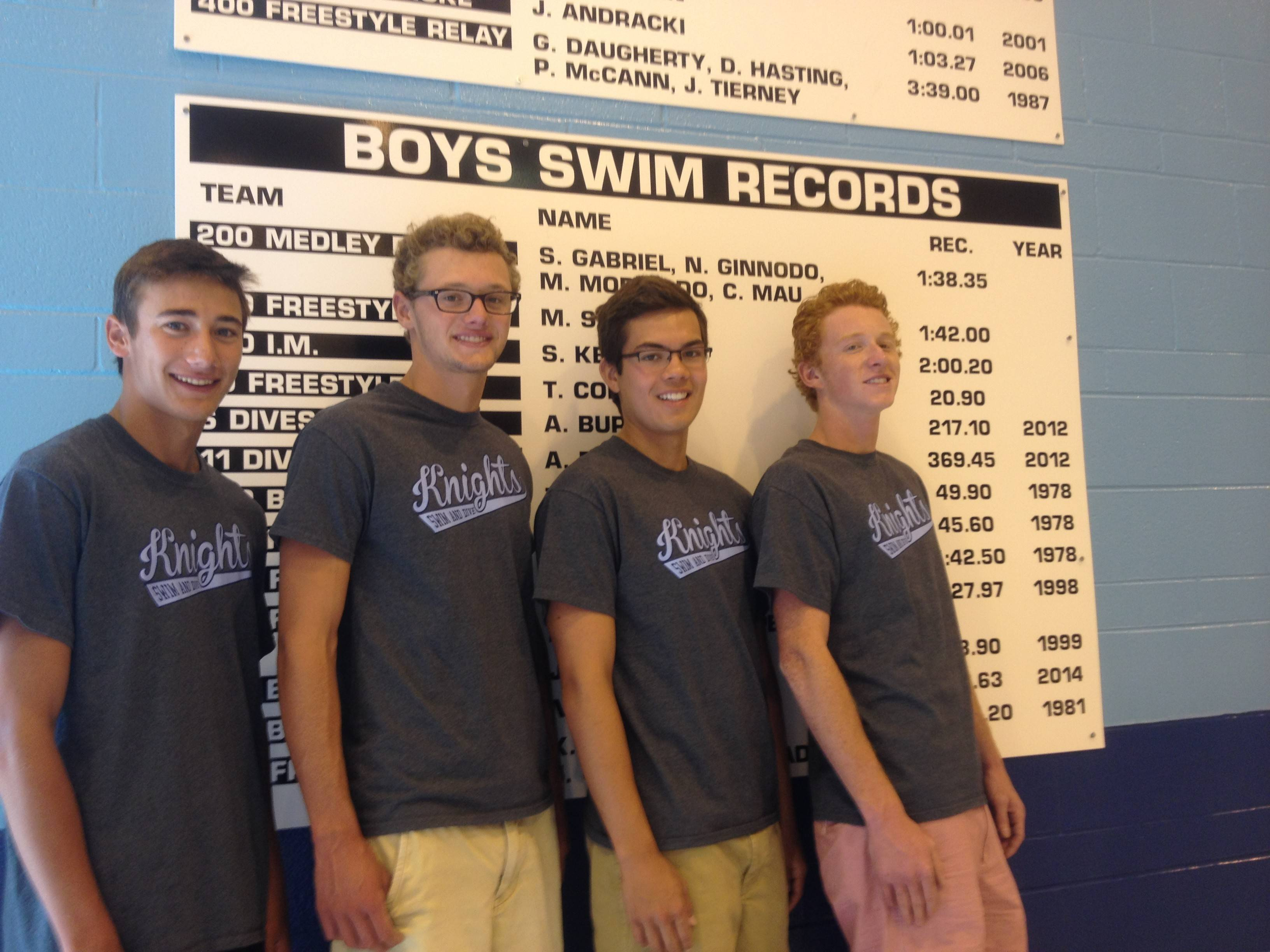 Prospect's record-setting medley relay of, from left, Sam Gabriel, Nathanael Ginnodo, Michael Morikado and Carter Mau, has earned a spot on the Knights' new swimming and diving record board inside the Jean Walker Field House.