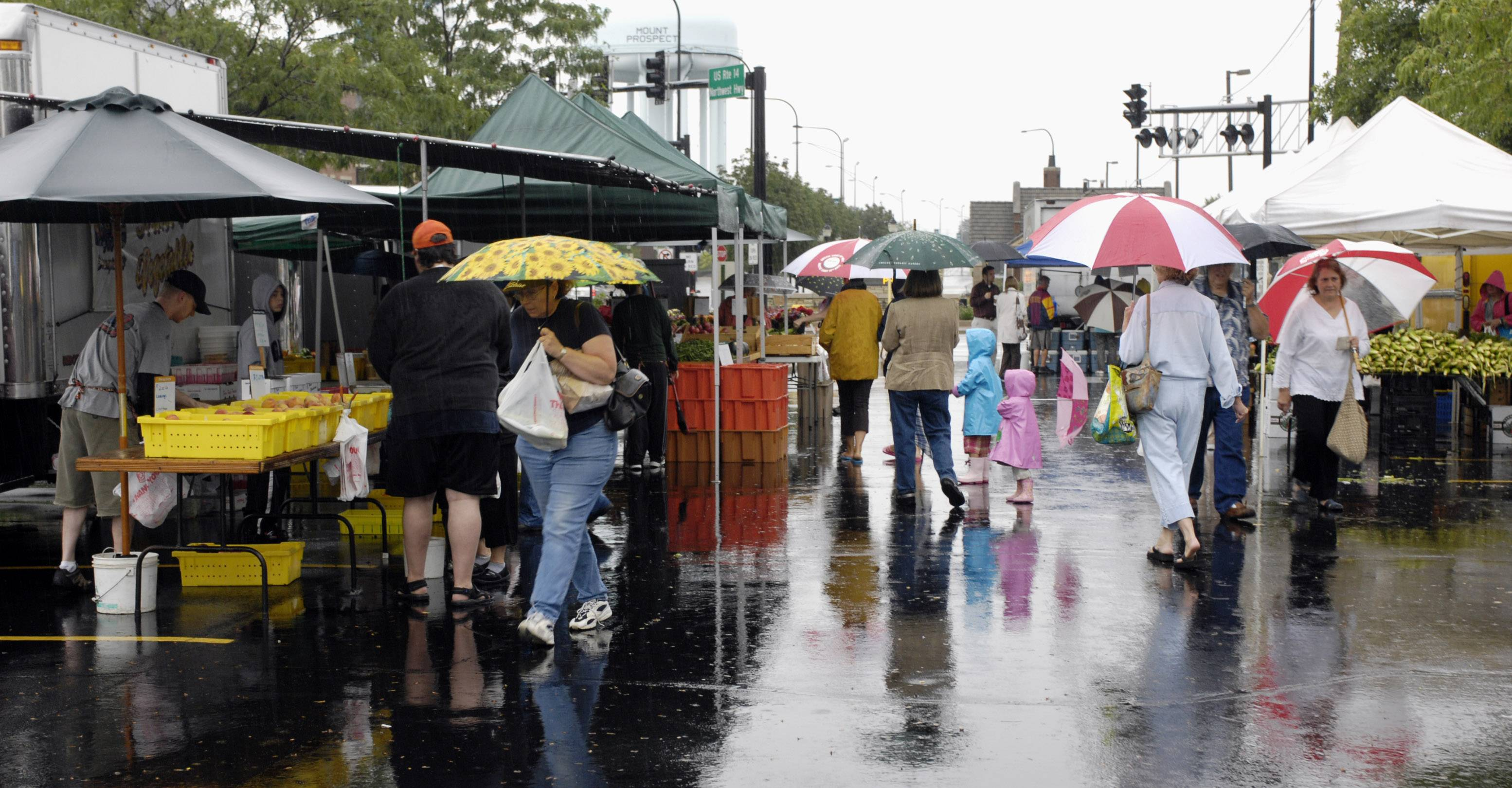 The Mount Prospect French Market goes on sunshine or rain, as demonstrated by heavy rains during the 2008 event.