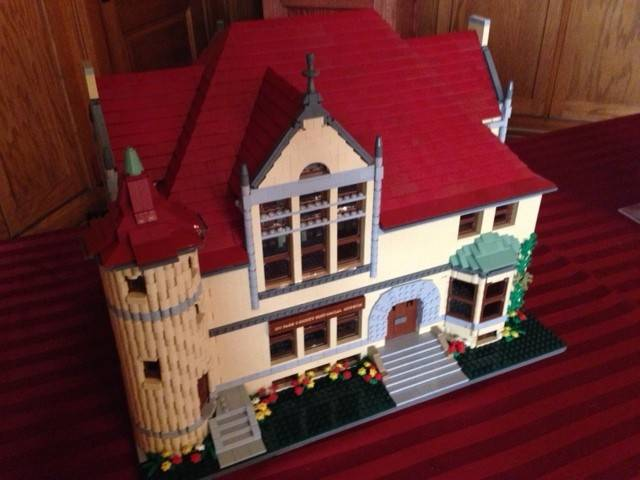 The detailed Lego replica of the DuPage County Historical Museum building was erected by Matt de Lanoy of the Northern Illinois Lego Train Club and is on display at the museum.