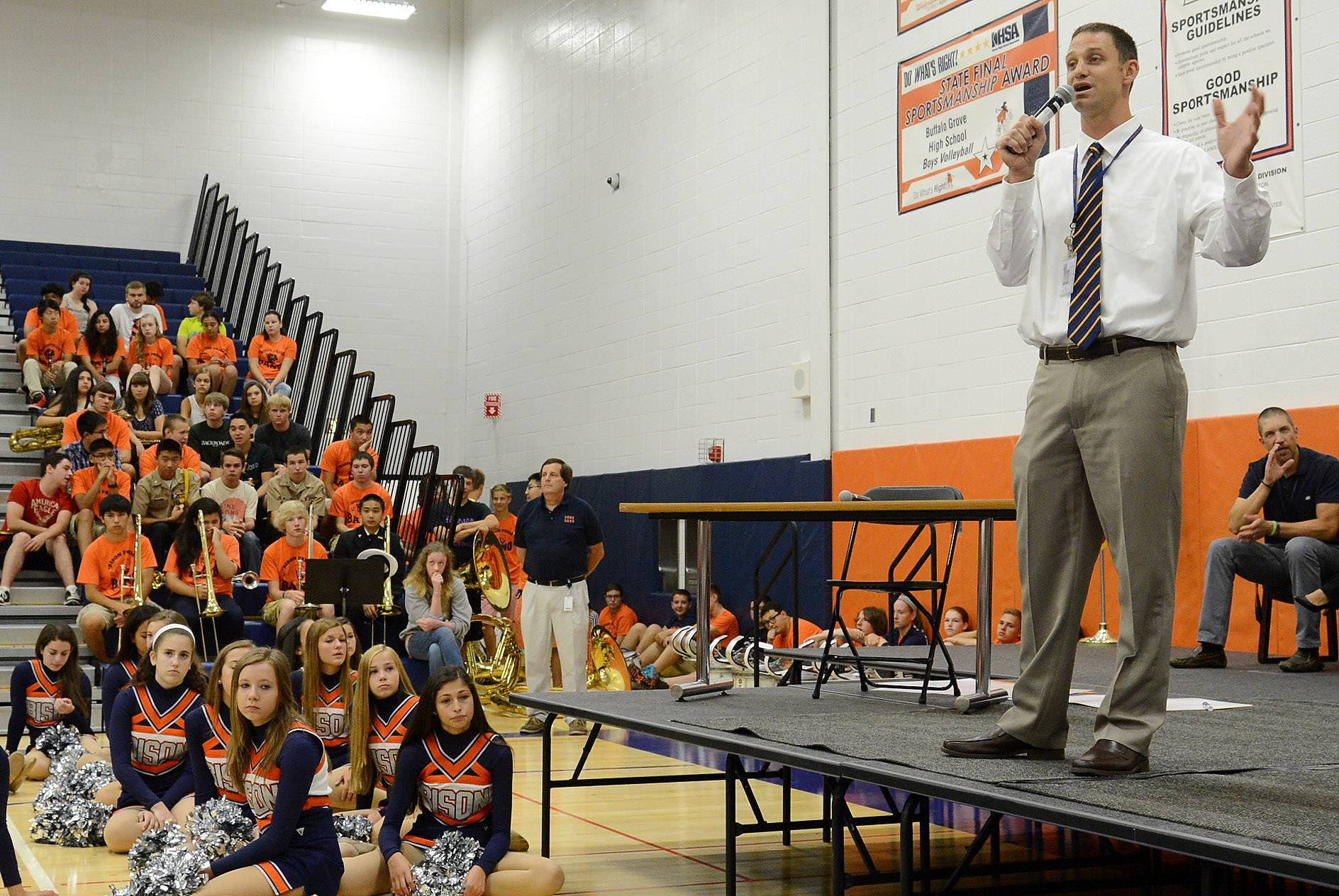 New principal Jeff Wardle addresses students during a back-to-school pep rally to kick off the first day of school at Buffalo Grove High School.