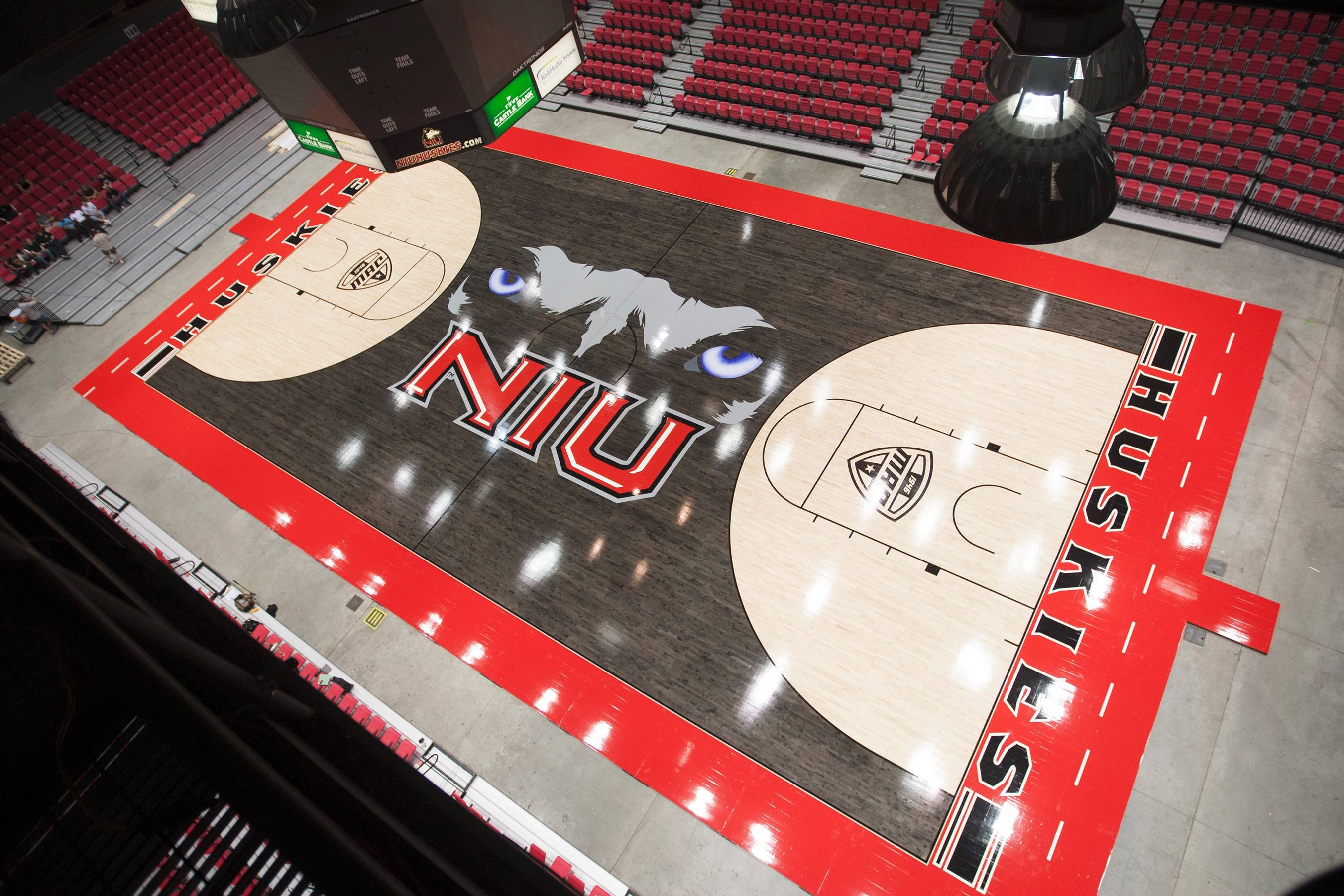 Here's a look at the design of the new basketball court installed at the Northern Illinois Univeristy Convocation Center.