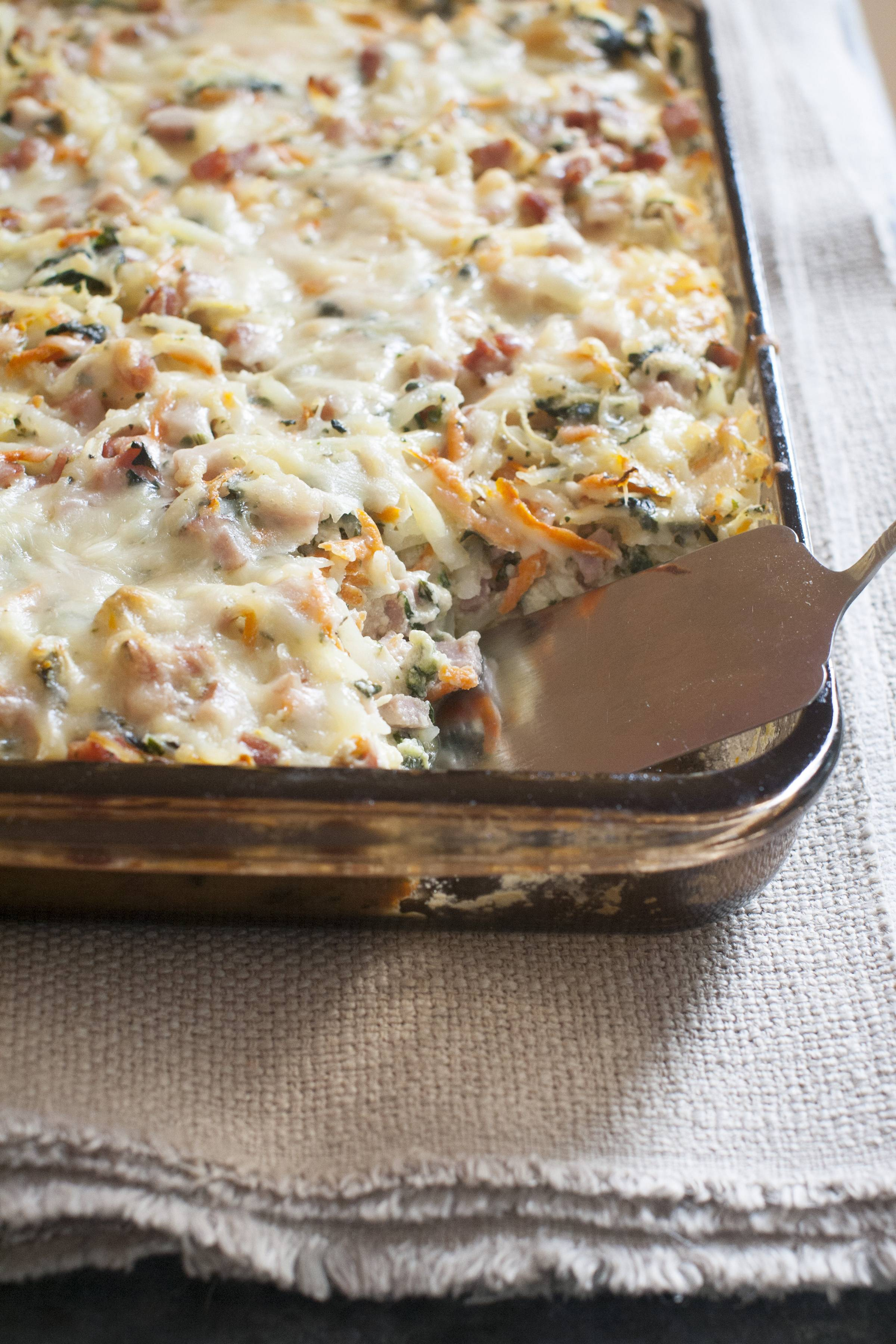 Ham mingles with vegetables, eggs and cheese and a make-ahead casserole that will bring everyone to the table.