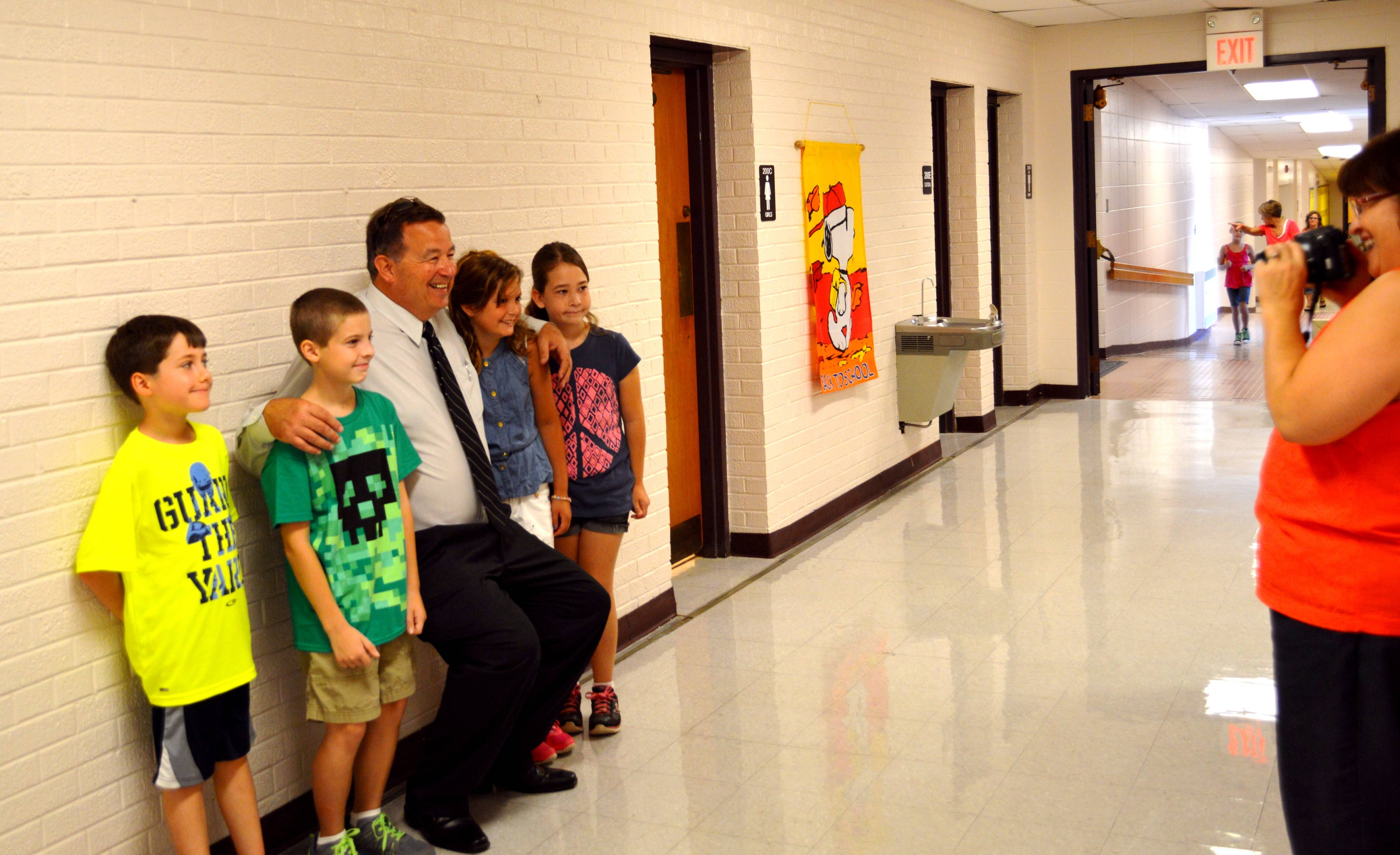 St. Charles Unit District 303 Superintendent Don Scholmann made a point of getting to know new students Wednesday during their first day at school.