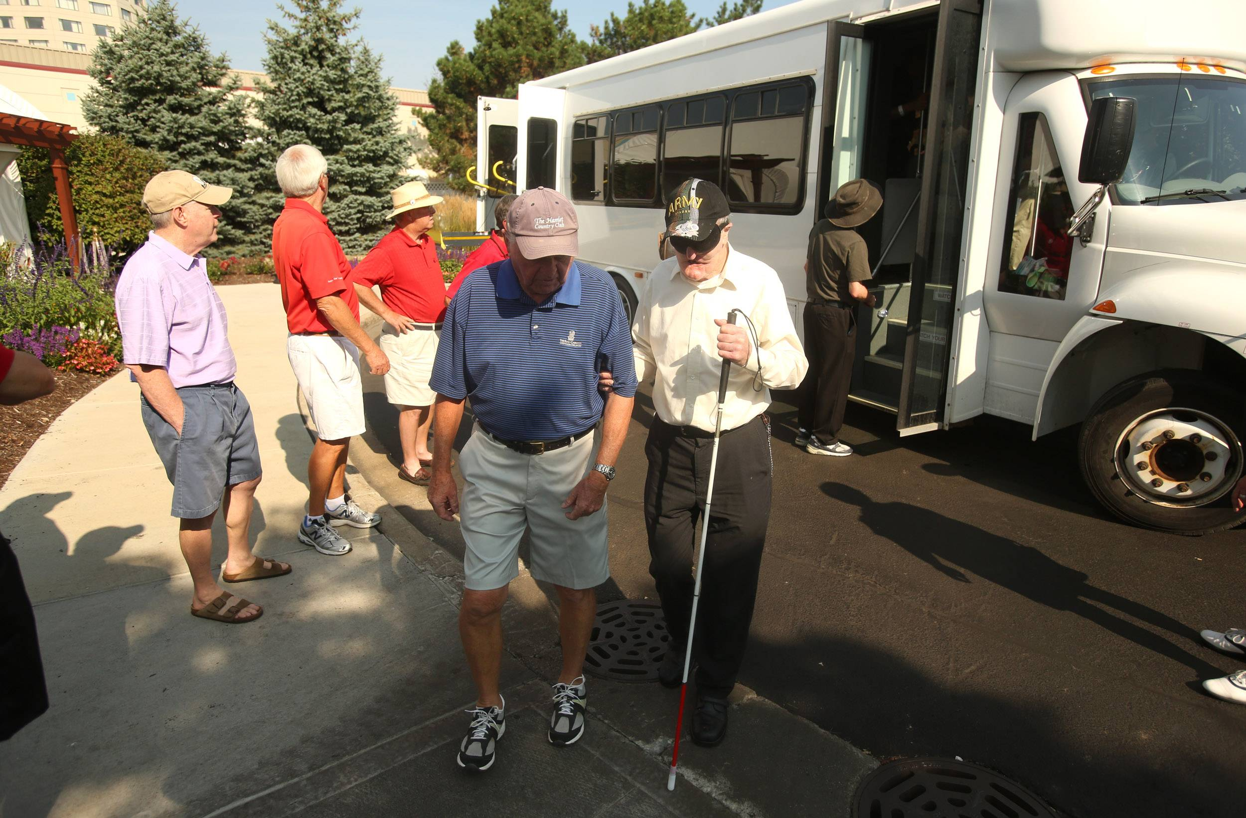 Leroy Bailey was one of 10 blind and visually impaired veterans to take in a round of golf Wednesday in Oak Brook.
