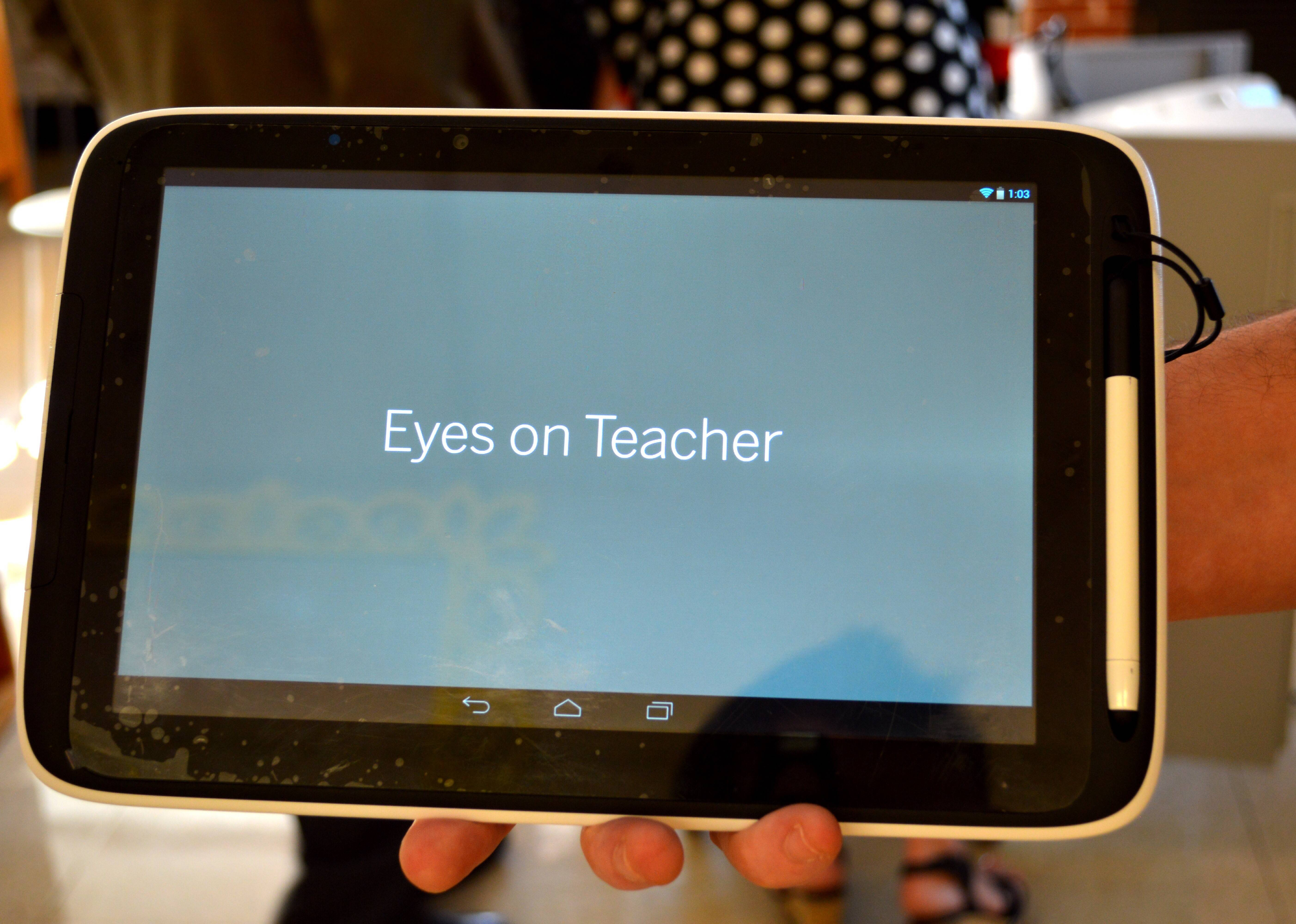 New Amplify Tablets being introduced at St. Charles' Richmond Intermediate school have a function that lets teachers both constantly monitor how students are using the device and allows instructors to remind  students to pay attention with the push of one button.
