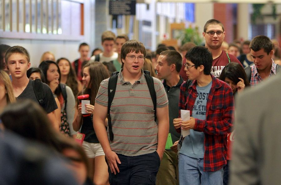 Kids navigate the hallways during the first day of classes Wednesday at Vernon Hills High School.