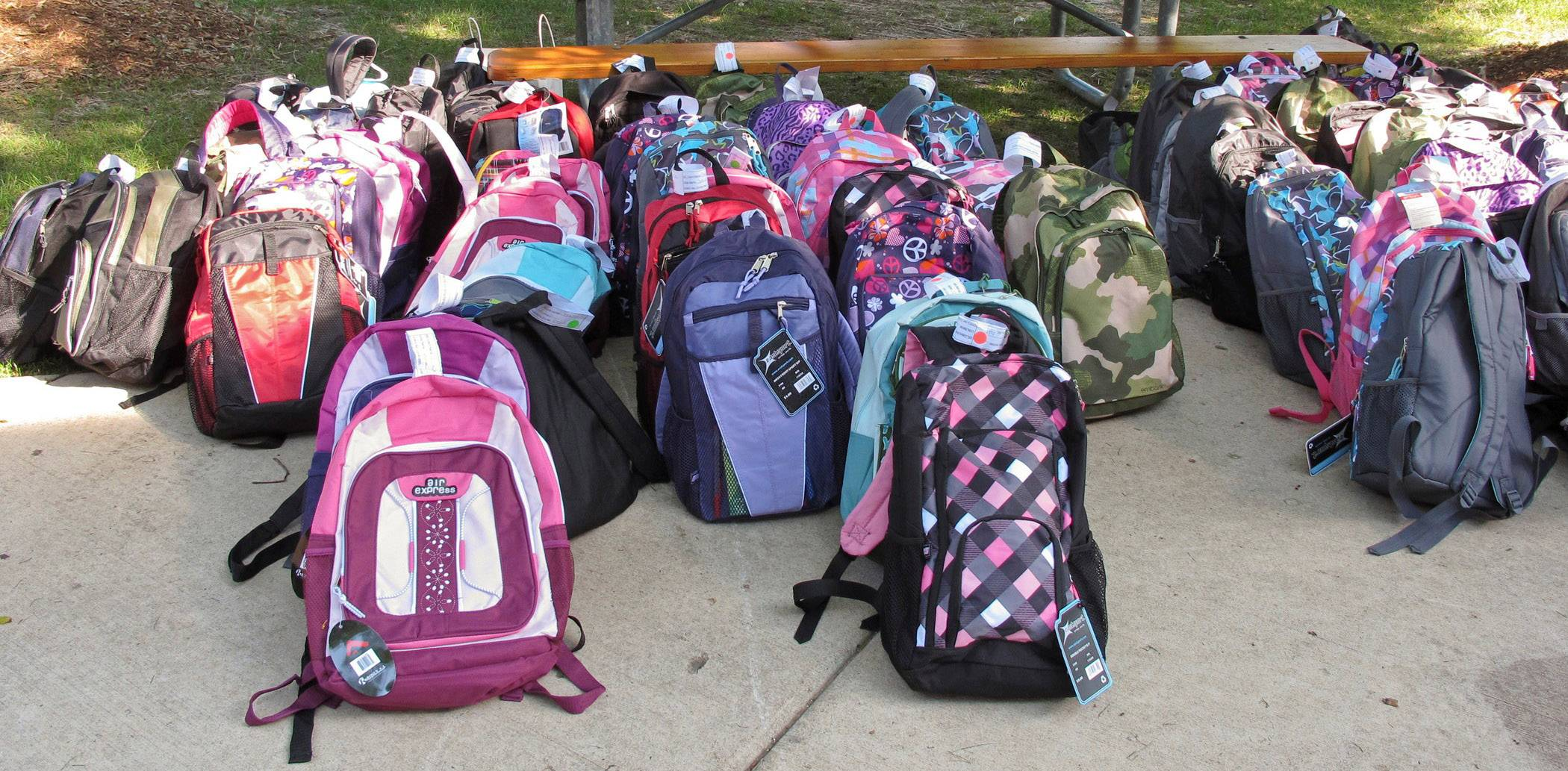 Backpacks given out by College of Lake County's Womens Center.