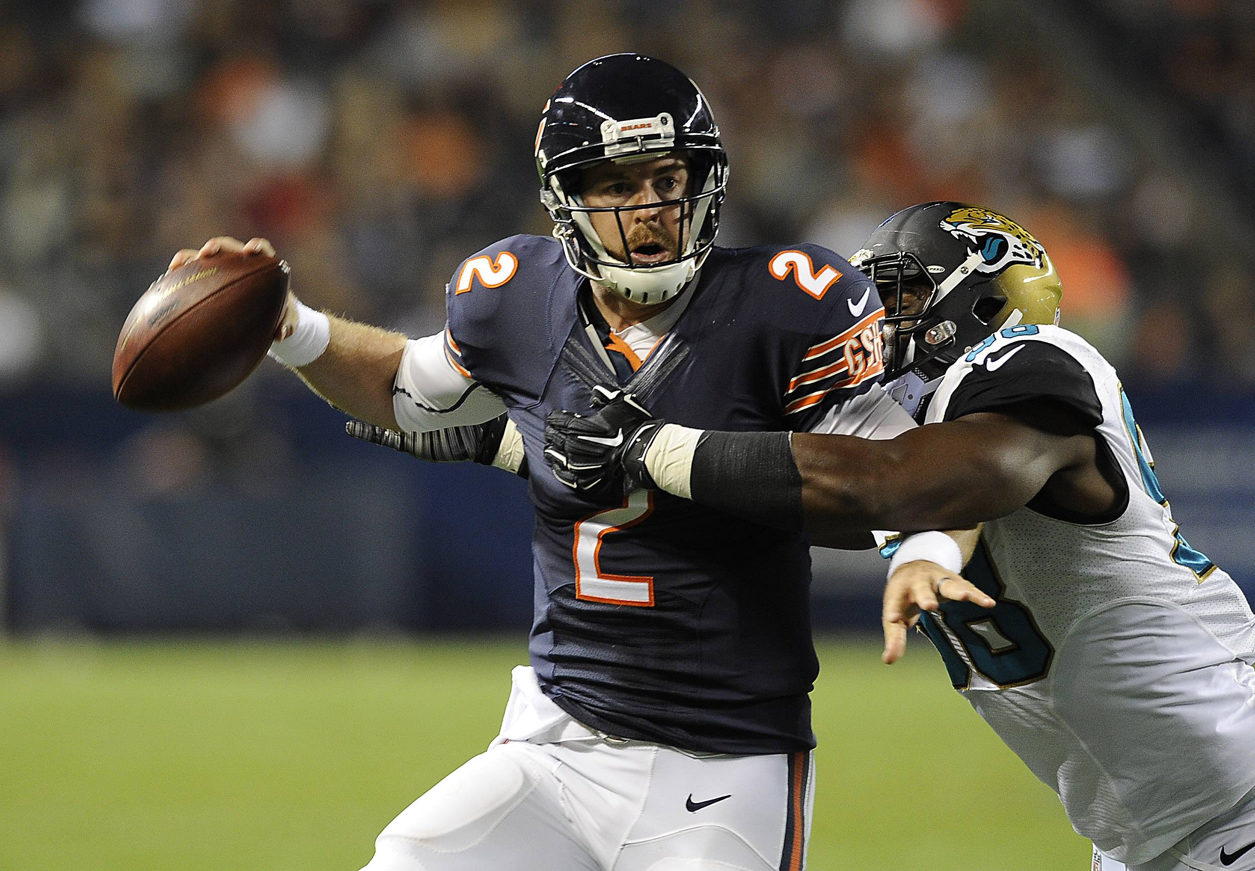 Jordan Palmer fires downfield under pressure against the Jaguars in the Bears' second preseason game. He'll be the first QB off the bench Friday when the Bears play at Seattle.