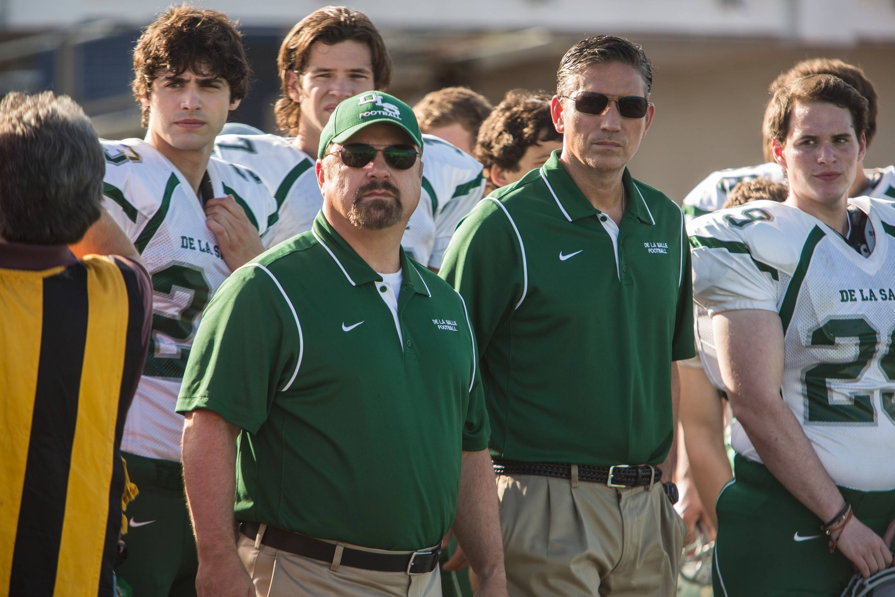 "High school football coaches (Jim Caviezel, right and Michael Chiklis) must see their once-storied team through tough times in ""When the Game Stands Tall."""