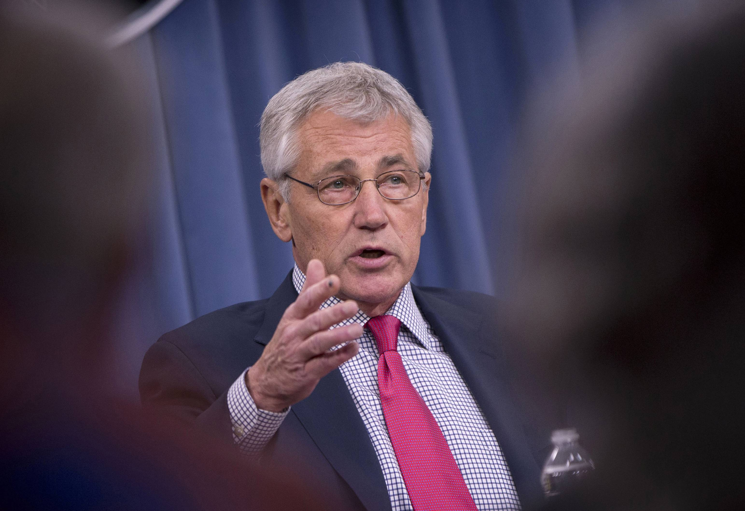 Defense Secretary Chuck Hagel, seen here in an appearance last month, said Thursday that U.S. airstrikes have helped Iraqi and Kurdish forces regain their footing in Iraq, but he expects Islamic State militants will regroup and stage a new offensive.