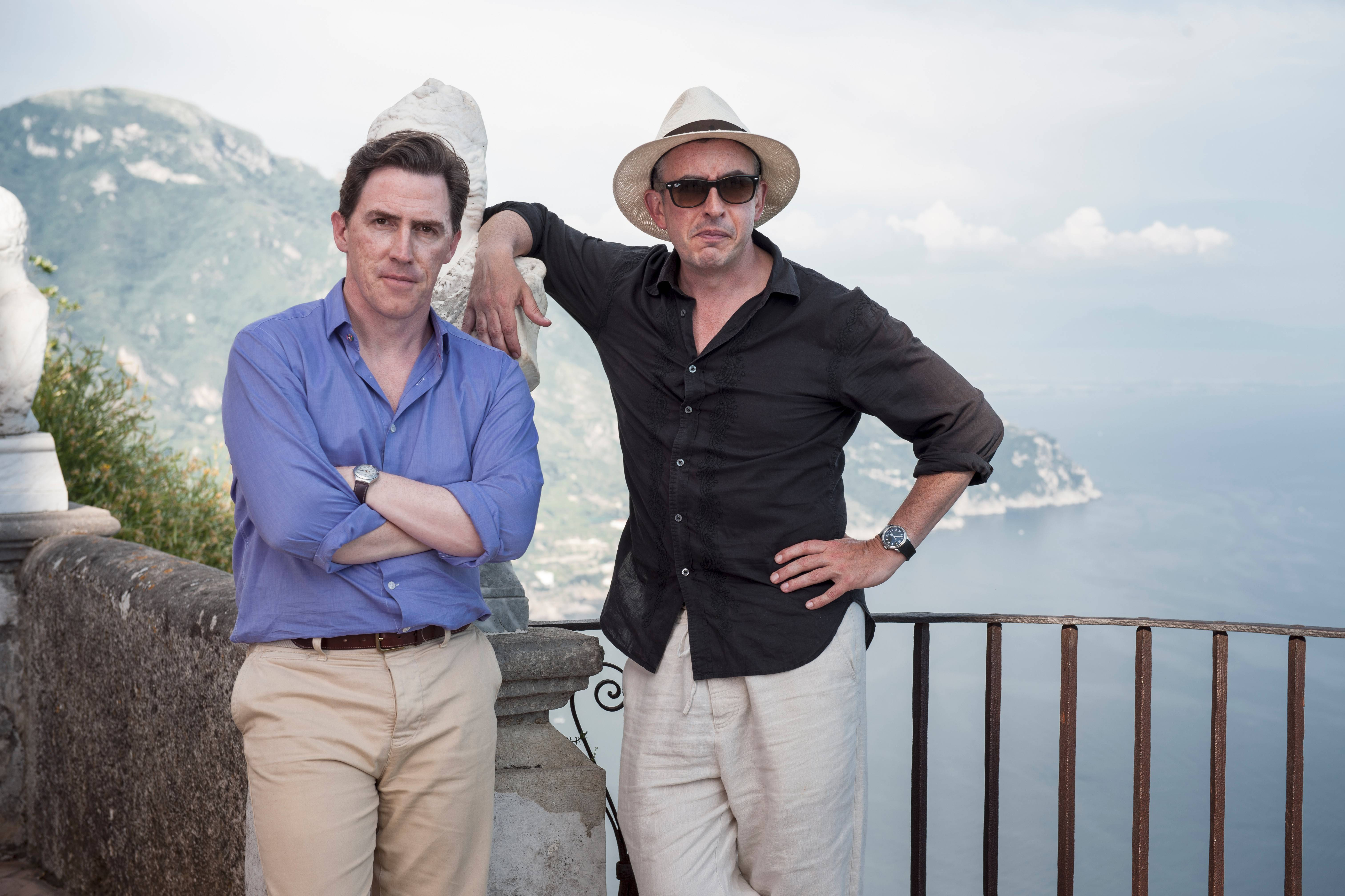 "Rob Brydon, left, joins Steve Coogan in a strained buddy road trip comedy ""The Trip to Italy."""