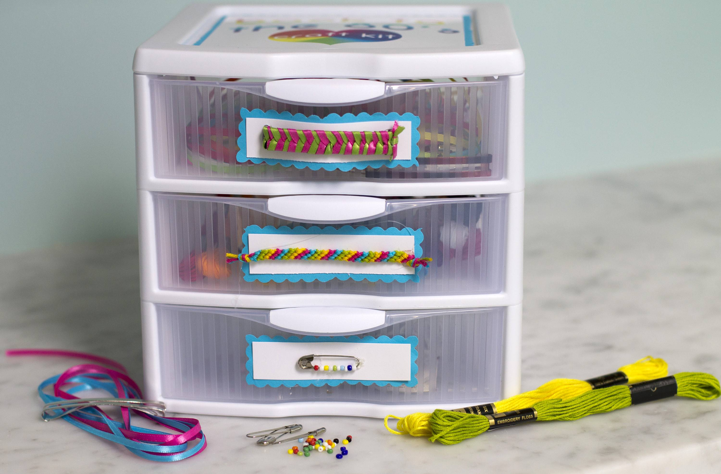 Make your own '80s kit to make ribbon barrettes, friendship bracelets and friendship pins.
