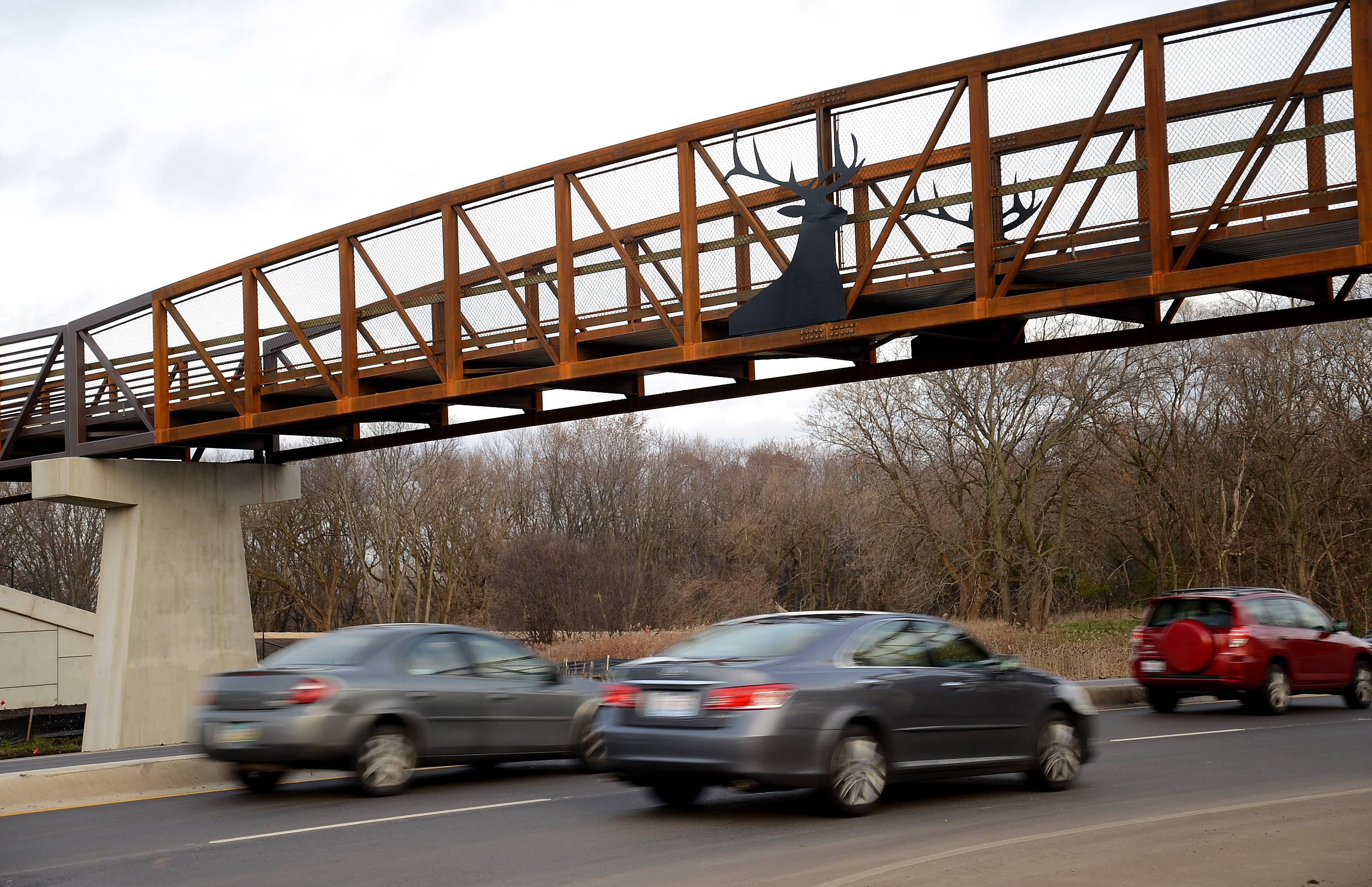 A pedestrian bridge installed over Higgins Road last November was named transportation project of the year by the American Public Works Association.