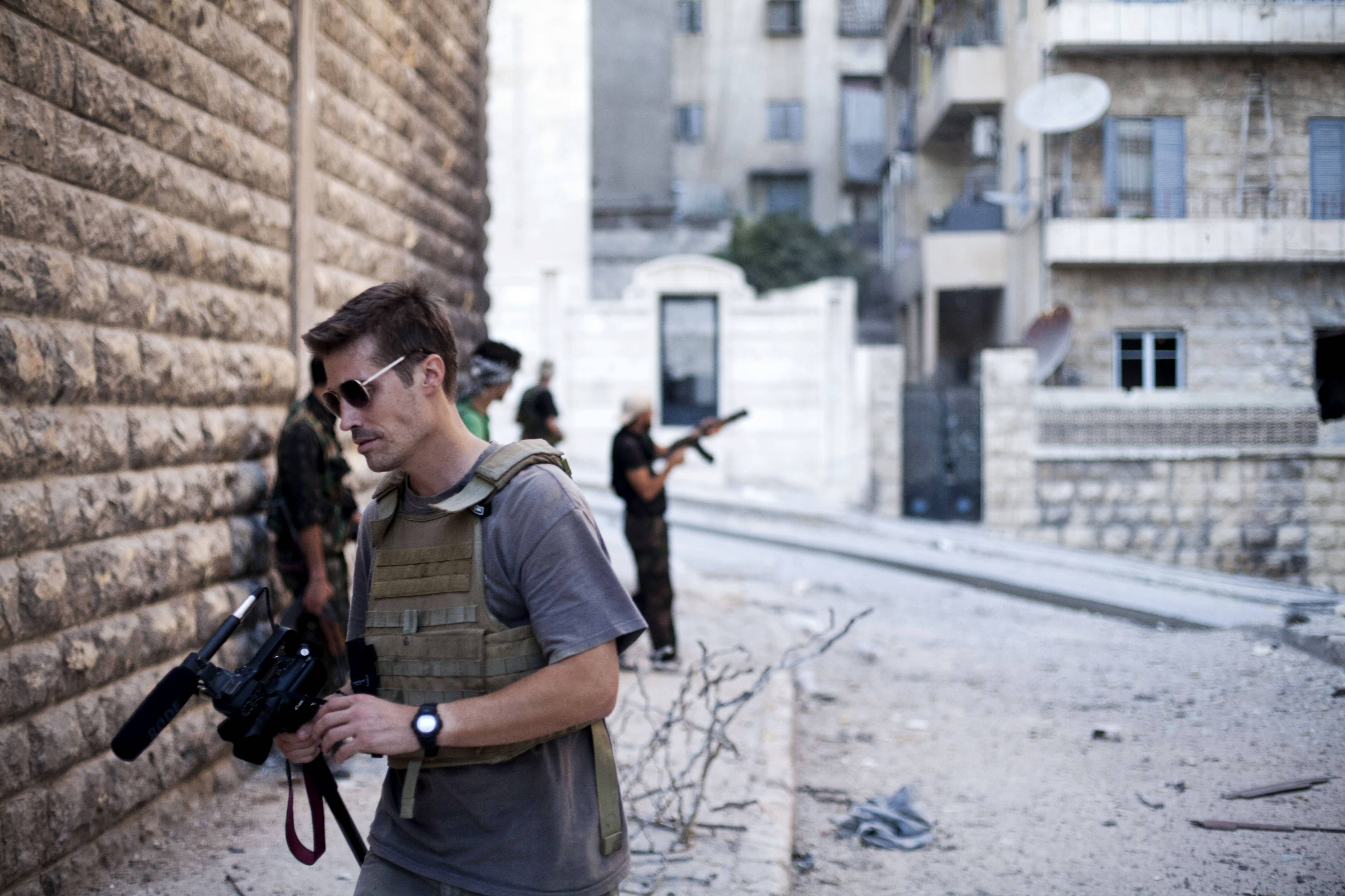 Associated Press/freejamesfoley.org, 2012Journalist James Foley in Aleppo, Syria. In a horrifying act of revenge for U.S. airstrikes in northern Iraq, militants with the Islamic State extremist group have beheaded Foley. The journalist was embedded with members of the Indiana Guard's 76th Infantry Brigade Combat Team in Iraq in 2008.
