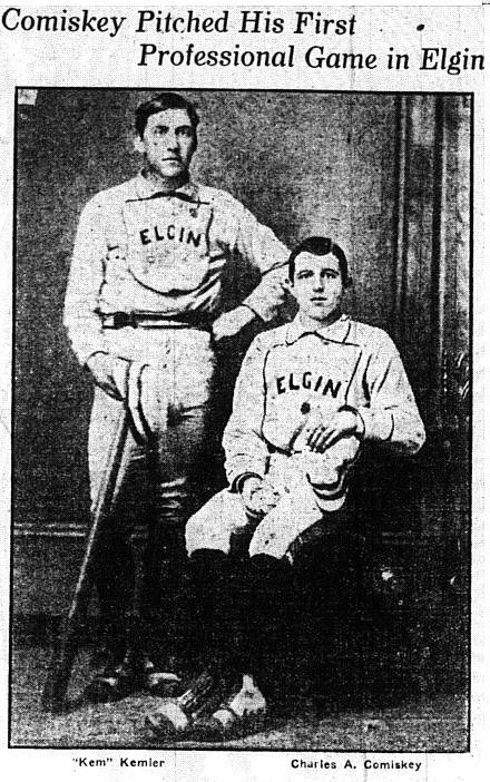Baseball Hall of Famer Charles Comiskey is pictured with catcher Kem Kemler in Elgin 1877. Comiskey later owned the Chicago White Sox and built Comiskey Park -- a Chicago icon for 80 years.
