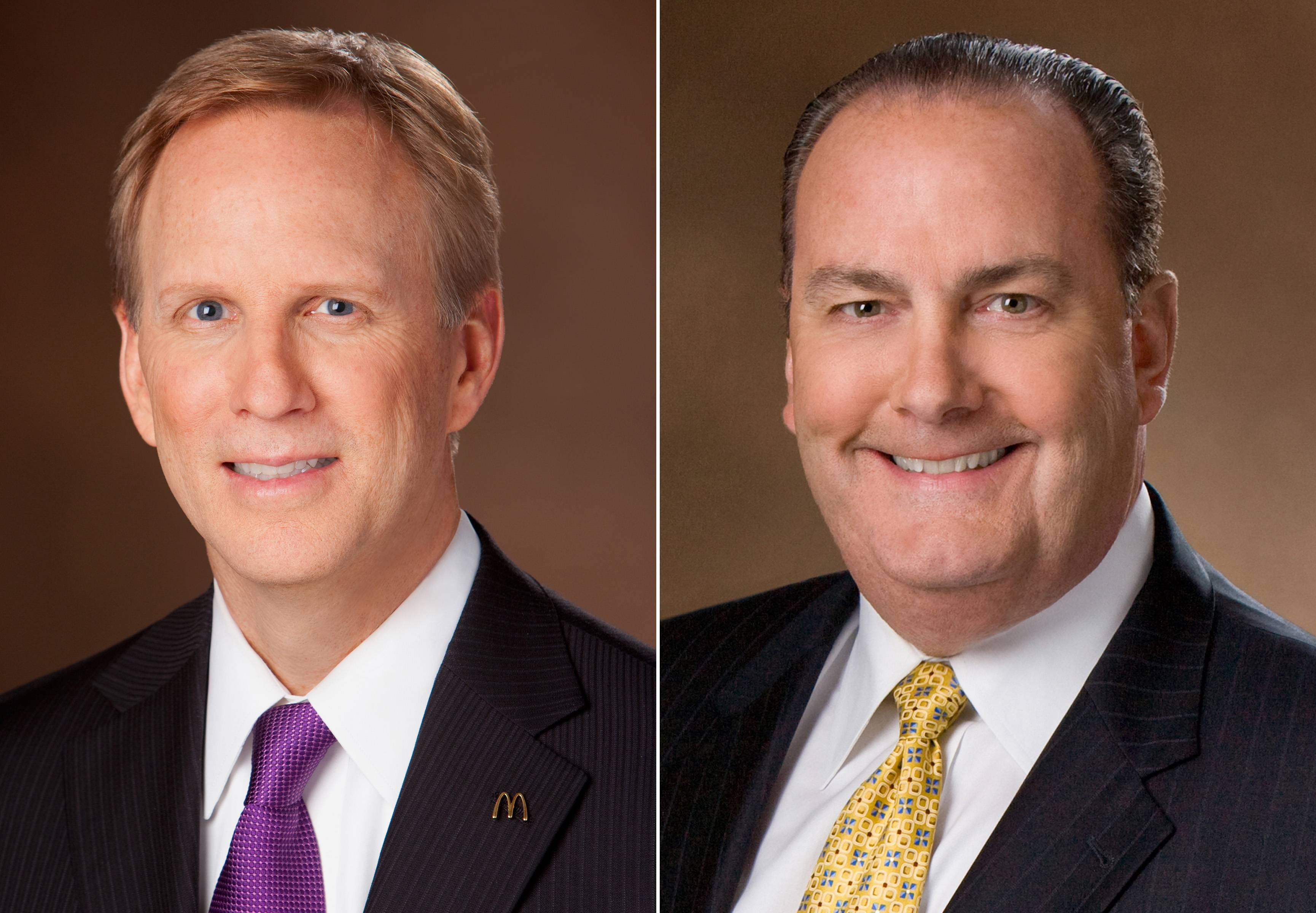 Mike Andres, McDonald's newly named president for its flagship U.S. division, left, and current president Jeff Stratton. The world's biggest hamburger chain on Friday, Aug. 22, 2014 said Andres will replace Stratton, who is retiring effective Oct. 15.
