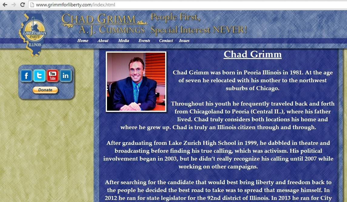 Libertarian governor candidate Chad Grimm graduated from Lake Zurich High School in 1999.