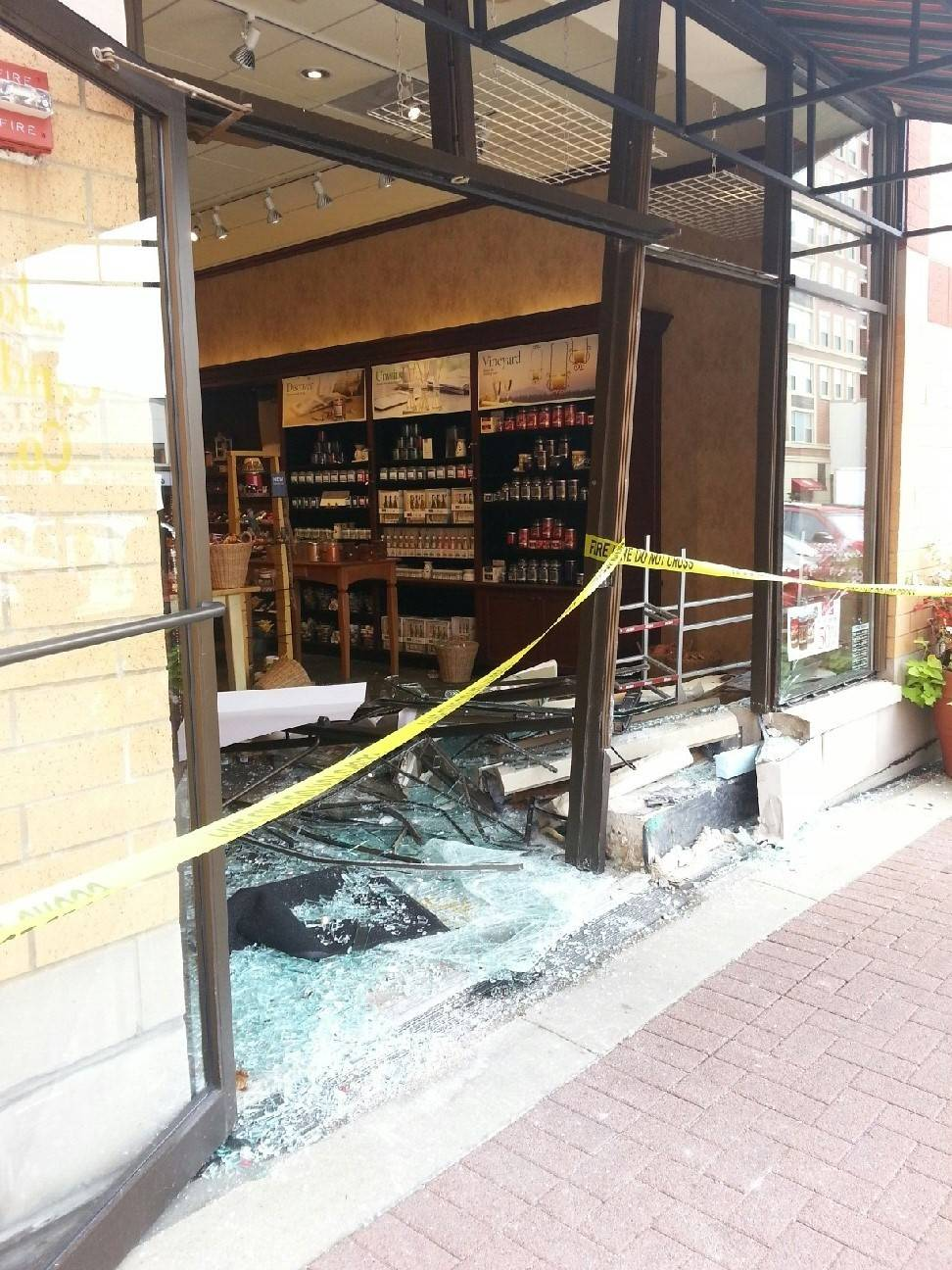 A car crashed into Yankee Candle in downtown Arlington Heights on Friday morning. No one was injured.