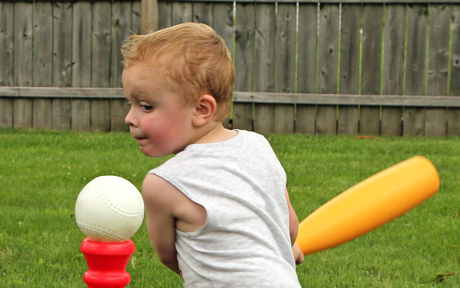 My great-nephew, Kyle, was very intent on keeping his eye on the ball during his third birthday party this summer. It was a Grand Slam and lots of fun that day.