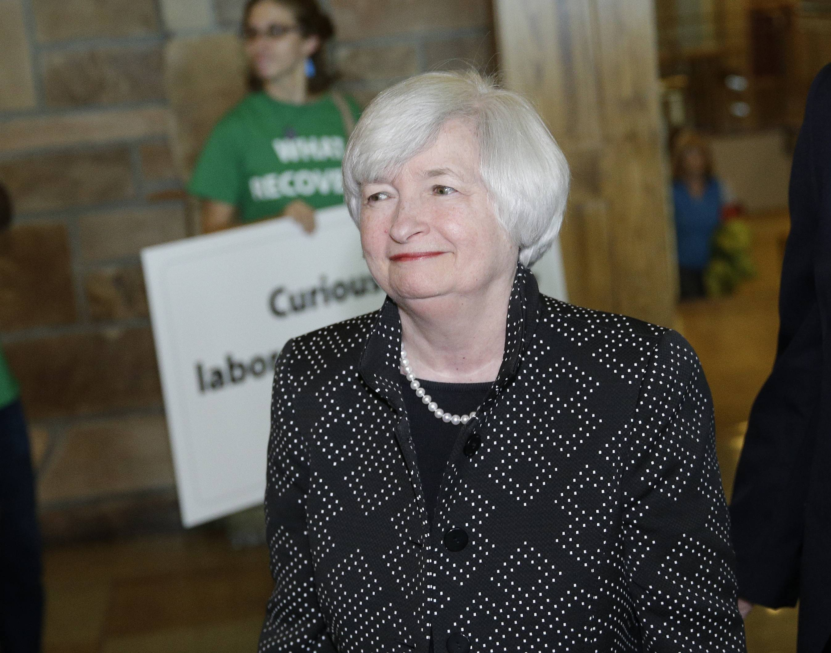 Federal Reserve Chair Janet Yellen arrives Thursday for a dinner during the Jackson Hole Economic Policy Symposium at the Jackson Lake Lodge in Grand Teton National Park near Jackson, Wyo.