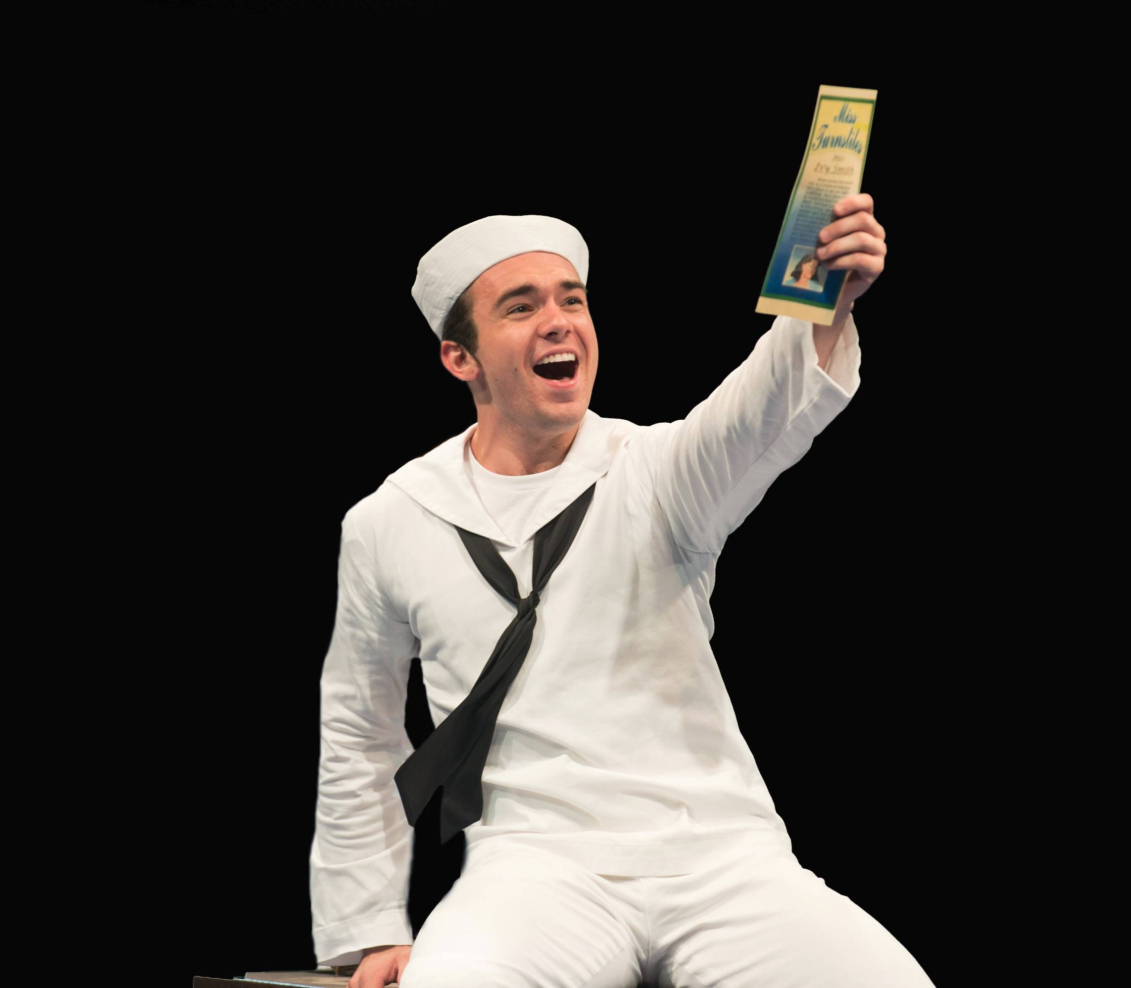 "Max Clayton plays a sailor on leave in Marriott Theatre's ""On the Town."""