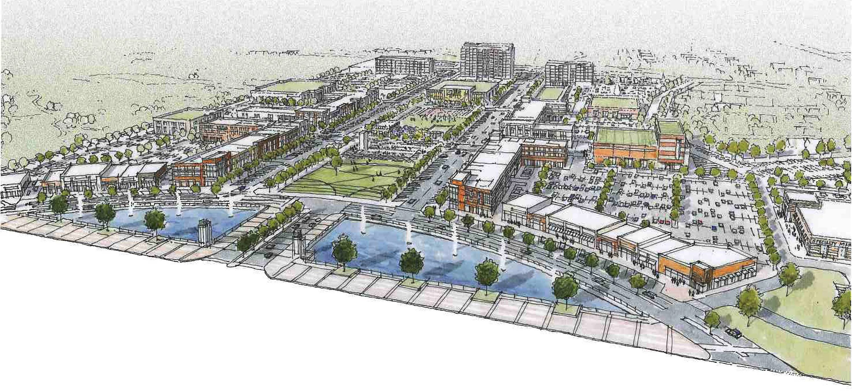 This is a sketch of a downtown development proposed for Buffalo Grove. The village soon will receive the results of an independent study of the area to determine suitability for development.