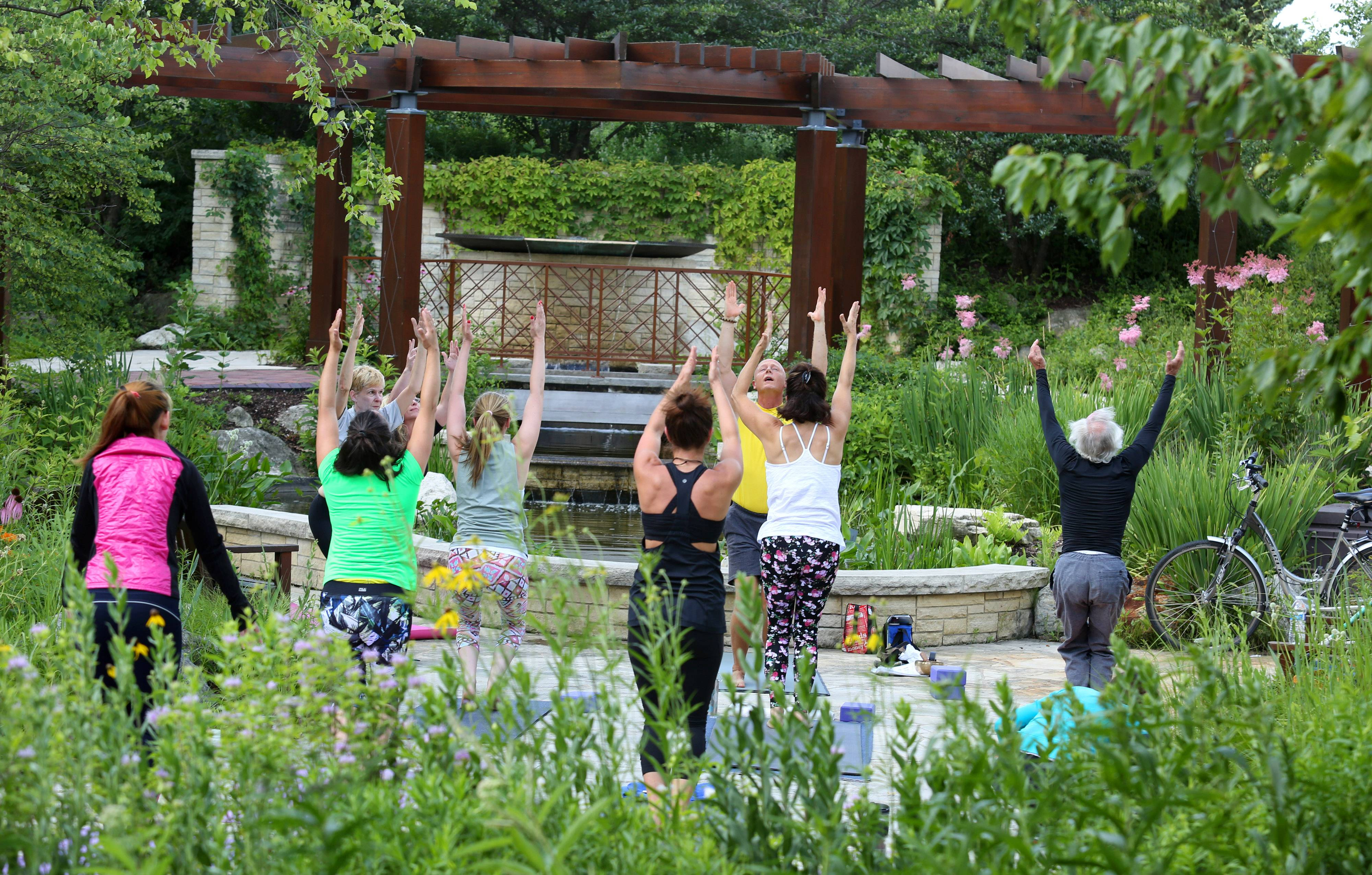 A free ashtanga yoga class is held for a second season in front of the water fountain in the native garden near Millennium Plaza at Independence Grove near Libertyville.