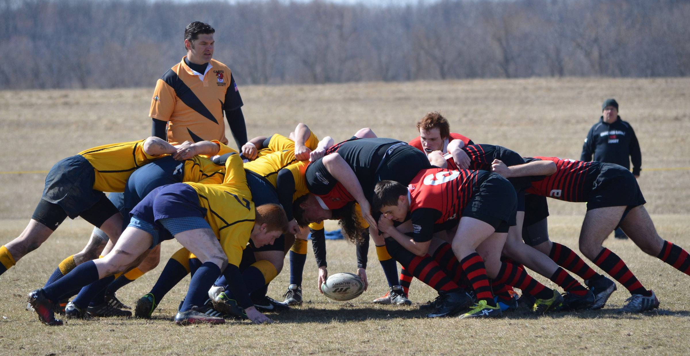 Members of the Palatine Barbarians High School Rugby Club are involved in a scrum during a junior varsity match played at Busse Woods against the Arlington Stallions on April 5.