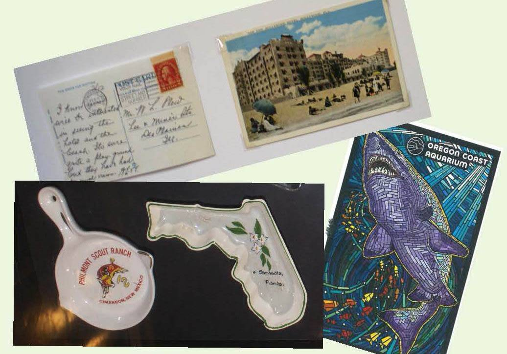 Feel free to bring in your special souvenirs and postcards at the Des Plaines History Center's Collectors Evening program. Also view such items from the History Center's collection.