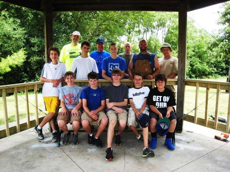 "The Troop 32 ""Assembly Team"" after Gazebo completion."