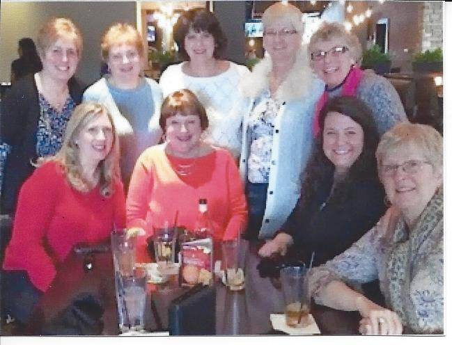 AOIIs at recent dinner:  (standing, from left) Cindy Cubberley of Hoffman Estates, Sue Blakely of Pingree Grove, Stephanie Feldmann of Inverness, Sue Dunmead of Schaumburg, Joyce Strout of So. Barrington, (seated, from left) friend and Terry Palmer of Brentwood TN, Stephanie Mete of Lake Zurich, Pat Juza of Arlington Heights.Diane Pellettiere