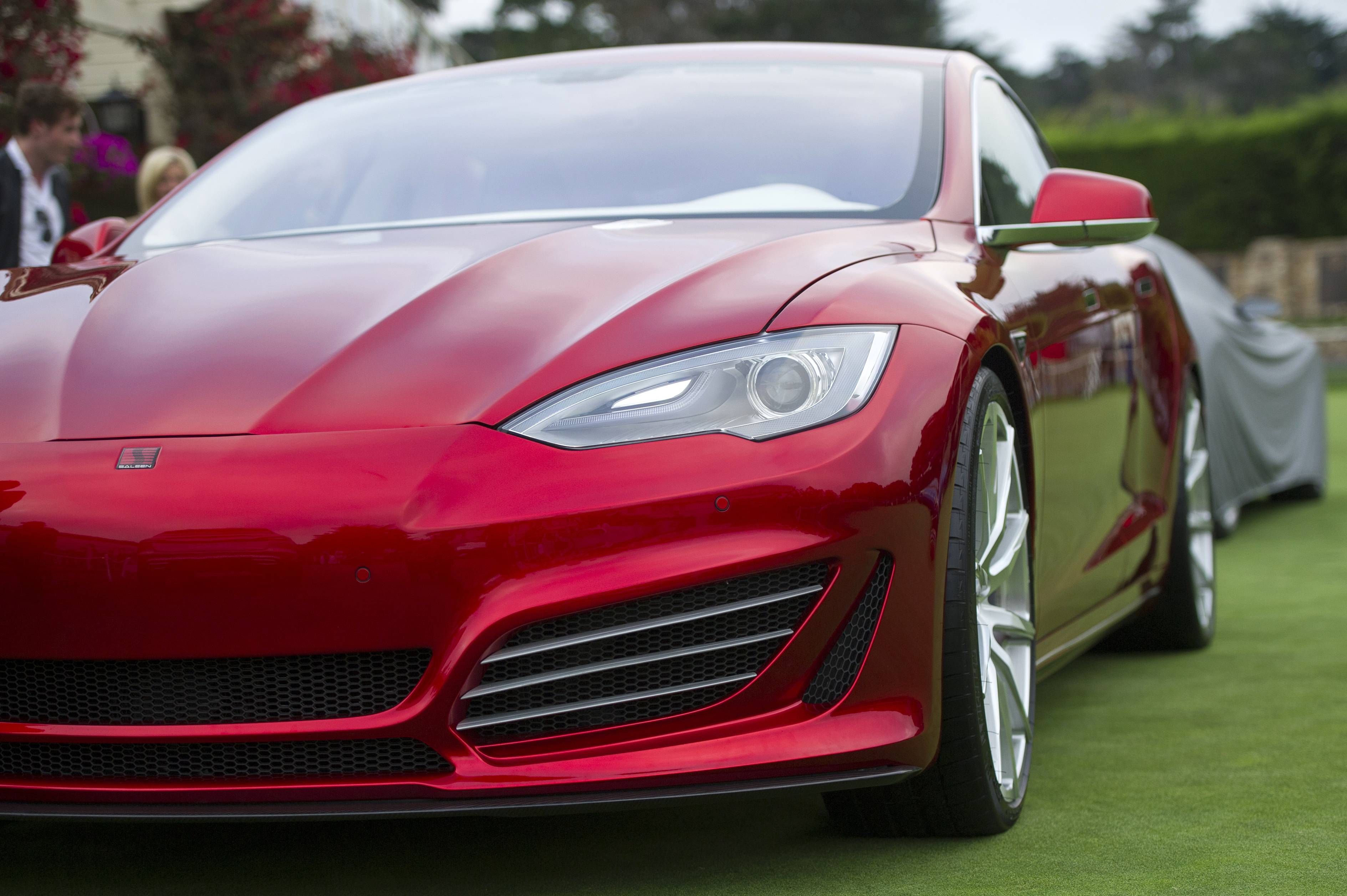 A Saleen Automotive Inc. Tesla Motors Inc. Foursixteen automobile is displayed during the 2014 Pebble Beach Concours d'Elegance in Pebble Beach, California.