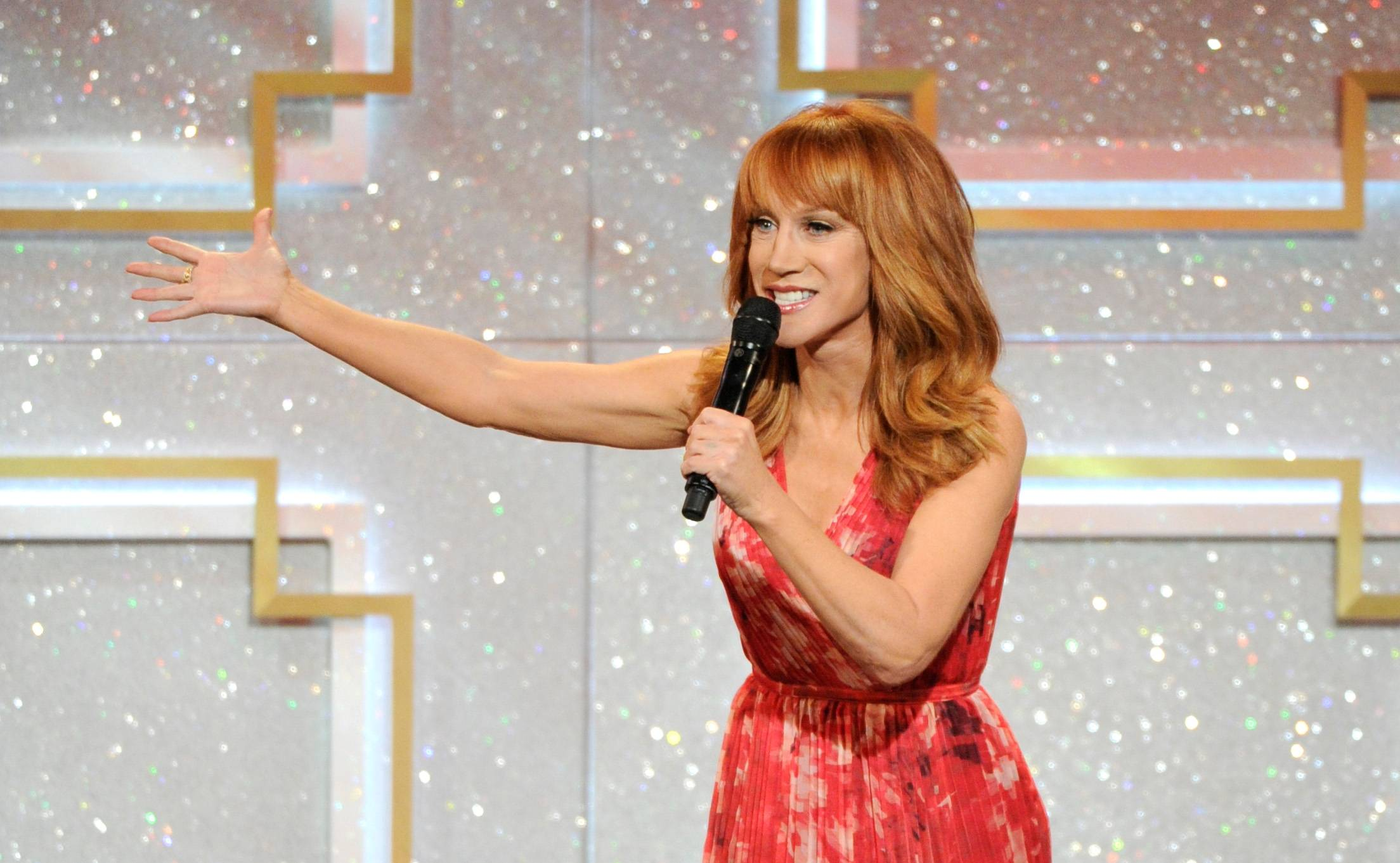 "Host Kathy Griffin on stage at the 41st annual Daytime Emmy Awards at the Beverly Hilton Hotel in Beverly Hills, Calif. The 53-year-old comedian said after watching the eye-popping, rump-shaking music video for Nicki Minaj's new hit single, ""Anaconda,"" she wants to go toe-to-toe with the rap diva."