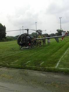 Engine failure forced the pilot of a helicopter to make an emergency landing Saturday on a Hanover Park youth football field, village officials say.