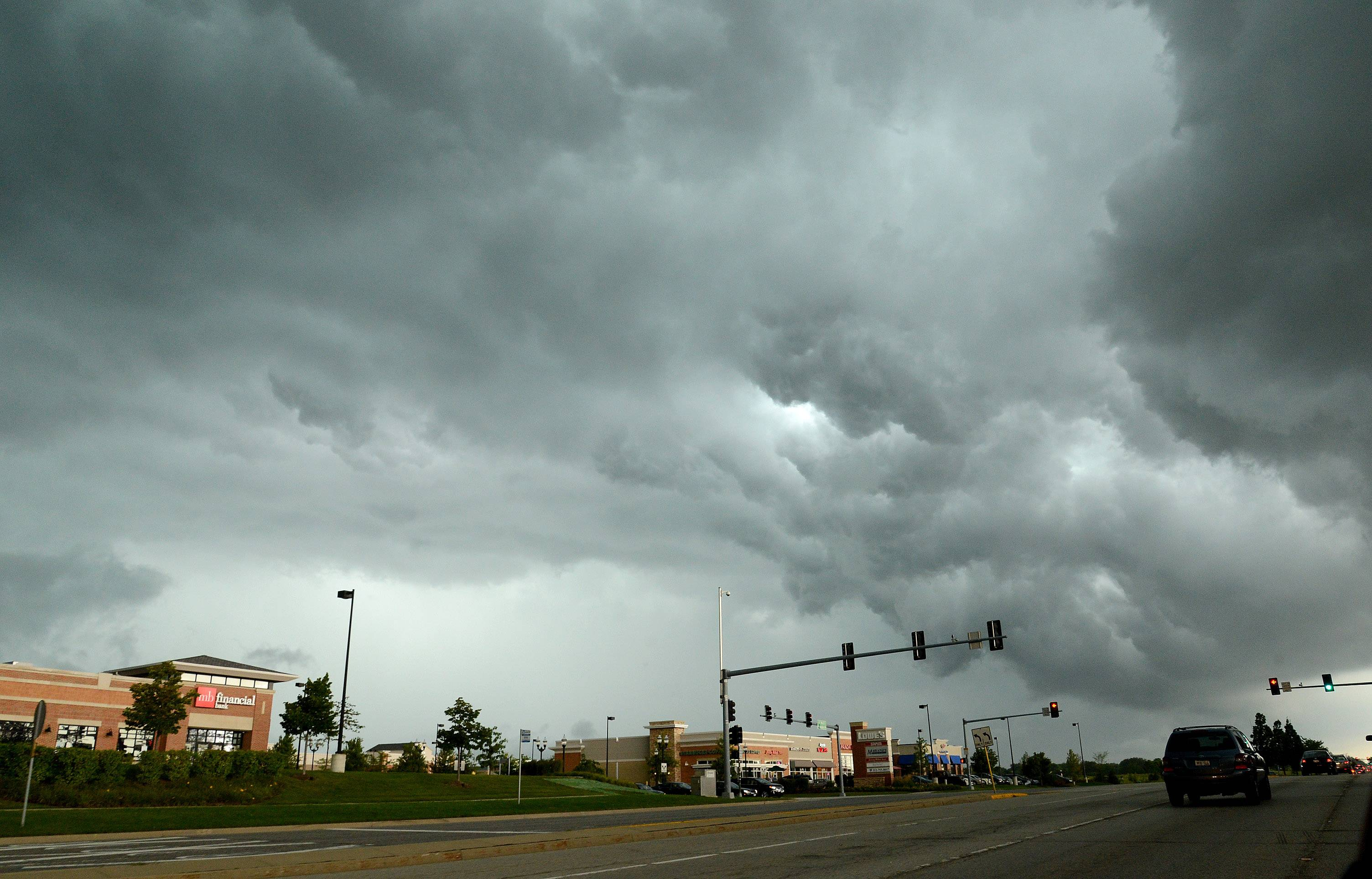 Storm clouds loom over Libertyville Saturday afternoon.