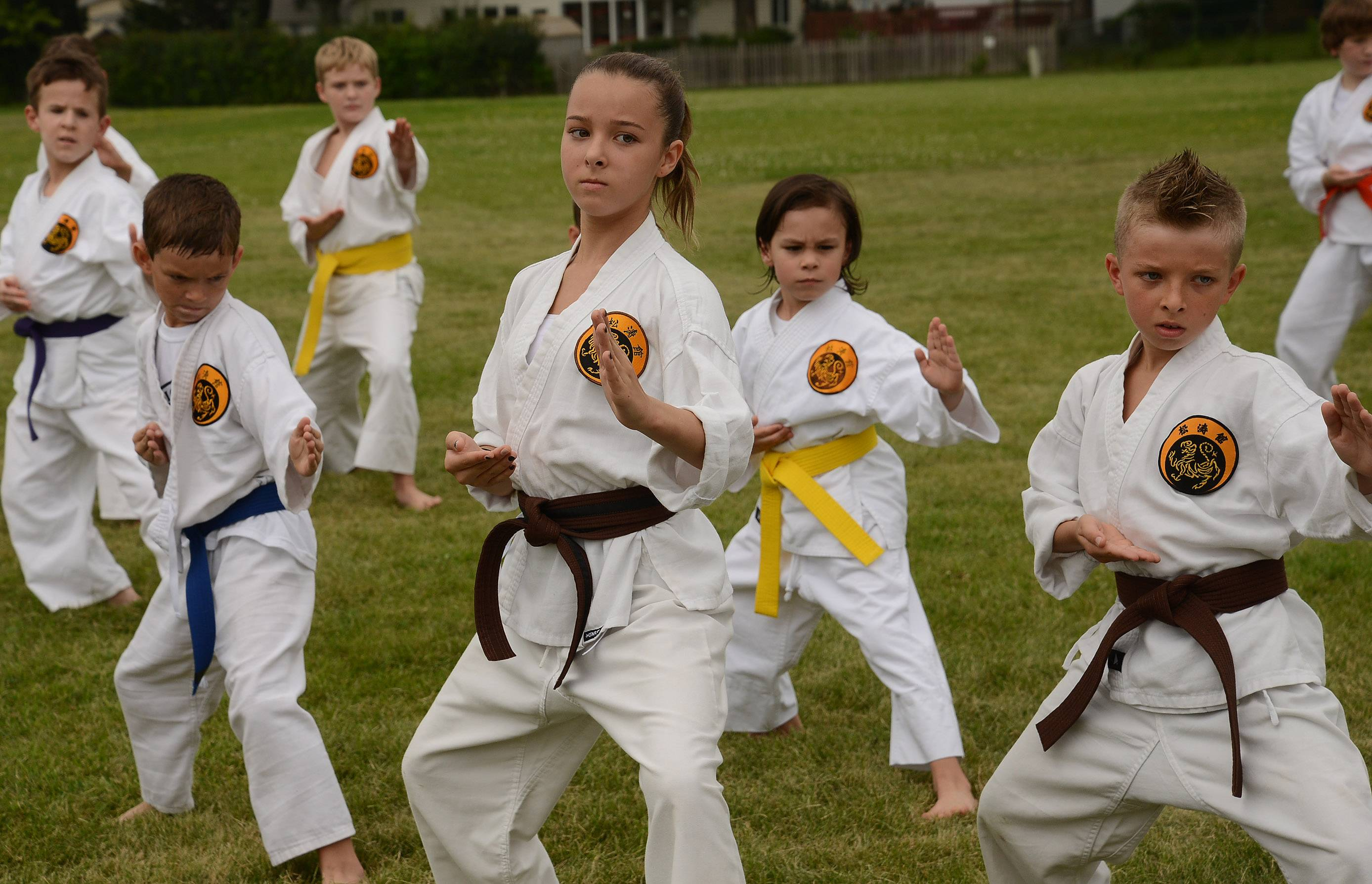 Taylor Henske, 13, center, and her brother Michael Henske, 10, right, put on a karate demonstration at the Elk Grove Township Elementary District 59 back-to-school celebration Saturday at Grove Junior High School in Elk Grove Village.