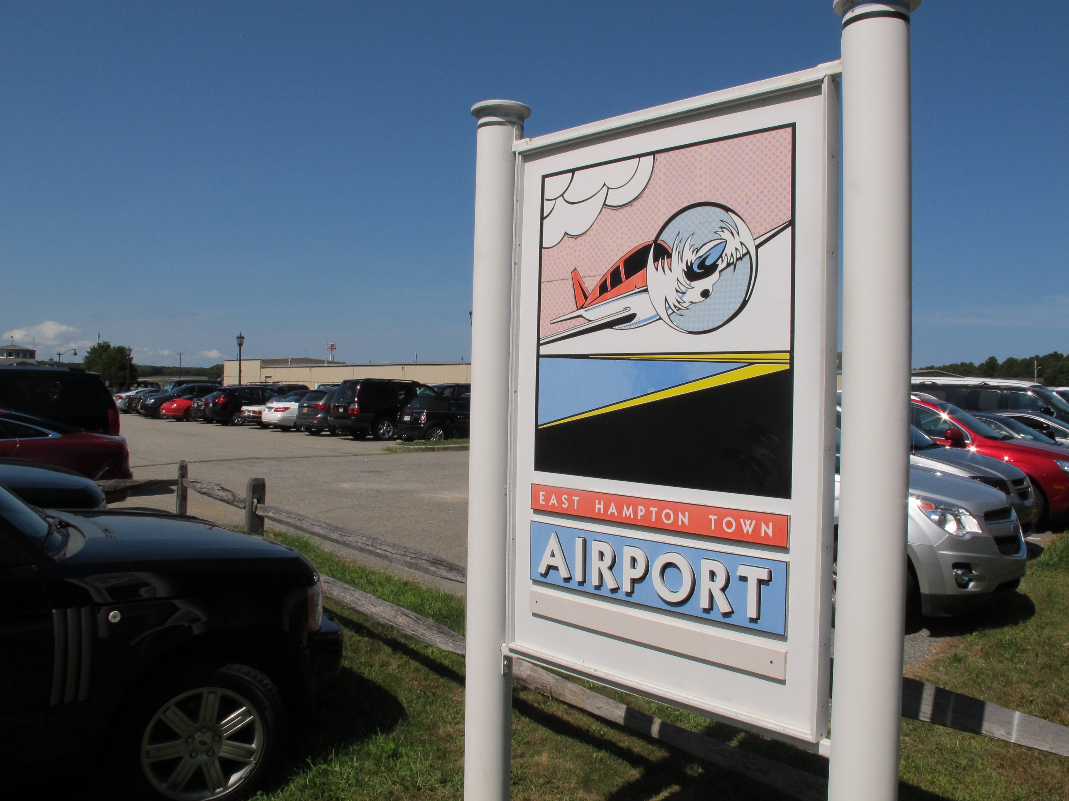 A sign welcomes visitors to the East Hampton Town Airport. Residents across eastern Long Island are complaining about the noise generated from jets, helicopters and other aircraft that land at the small municipal airport, which is situated in the heart of the summer playground for the rich and famous.