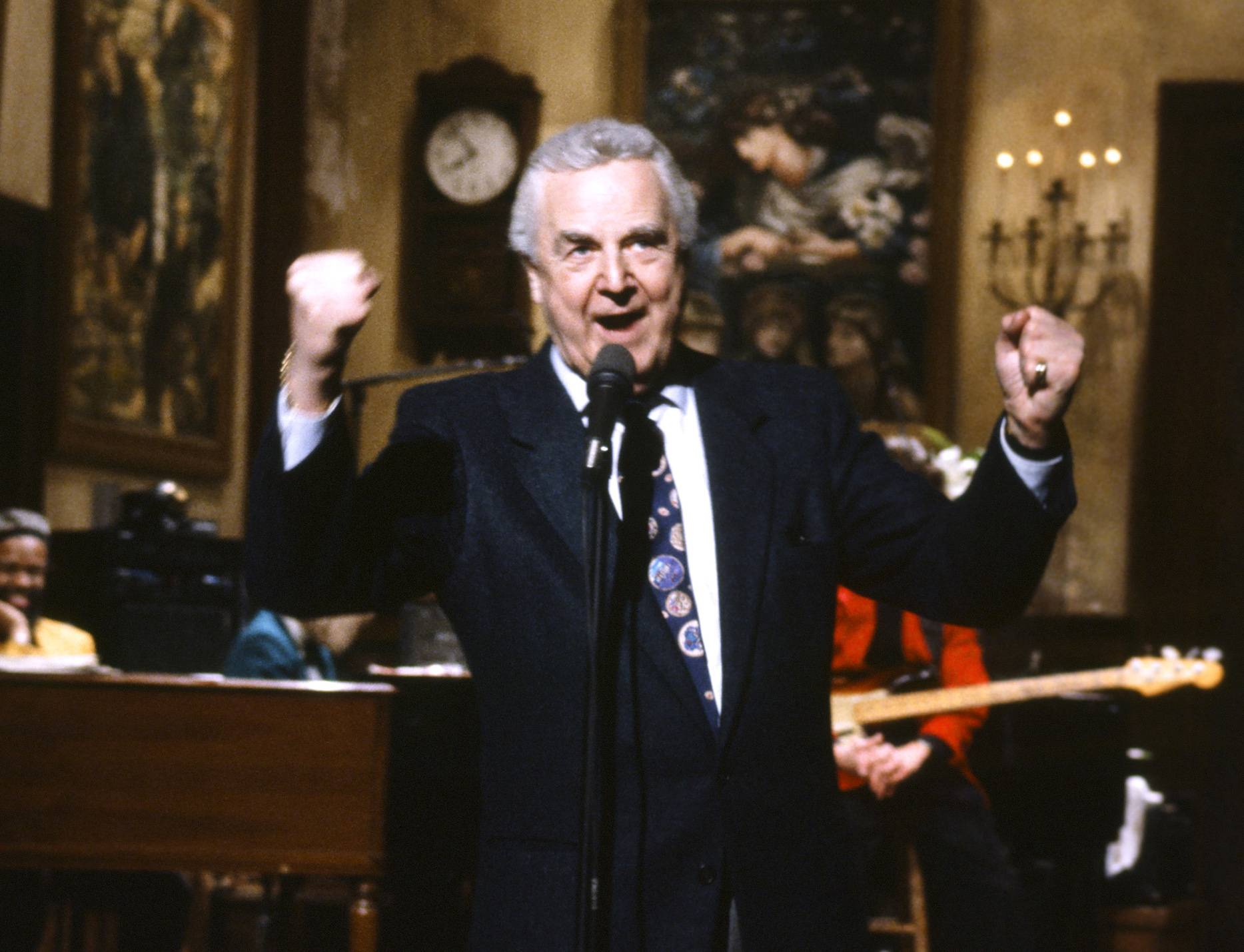 "Announcer Don Pardo on the set of ""Saturday Night Live."""