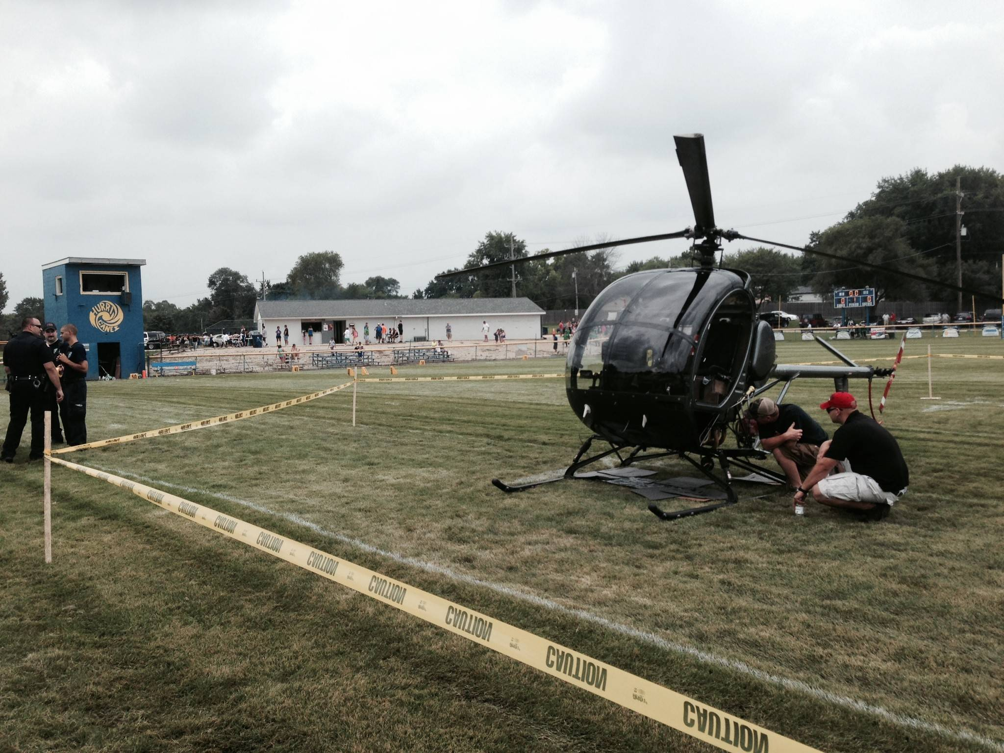 """The football field is kind of a wreck,"" Craig said of the damage after the emergency landing."